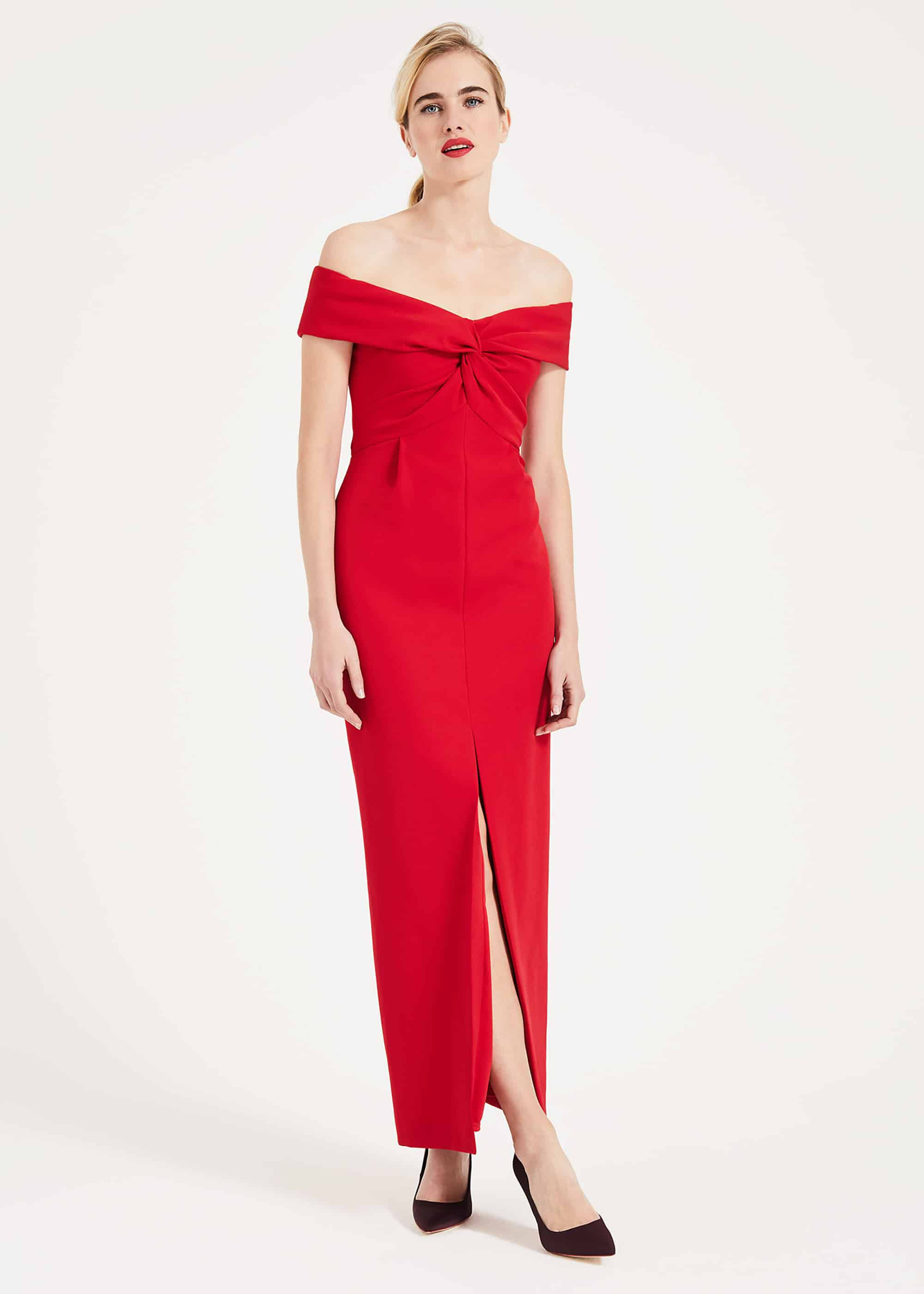 Phase Eight Marcelina Twist Maxi Dress, Red, Fitted