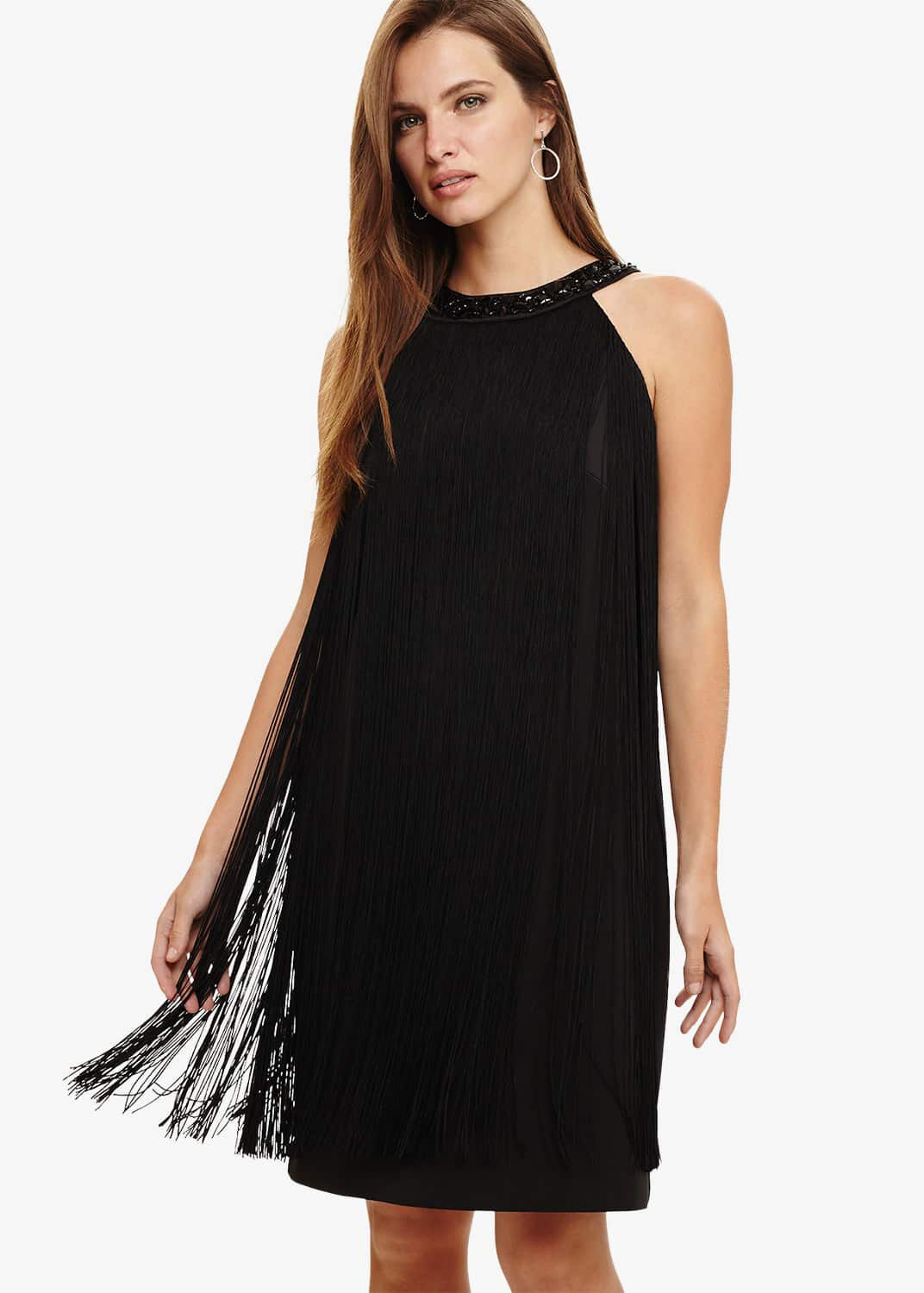 Phase Eight Katie Fringe Dress, Black, Shift