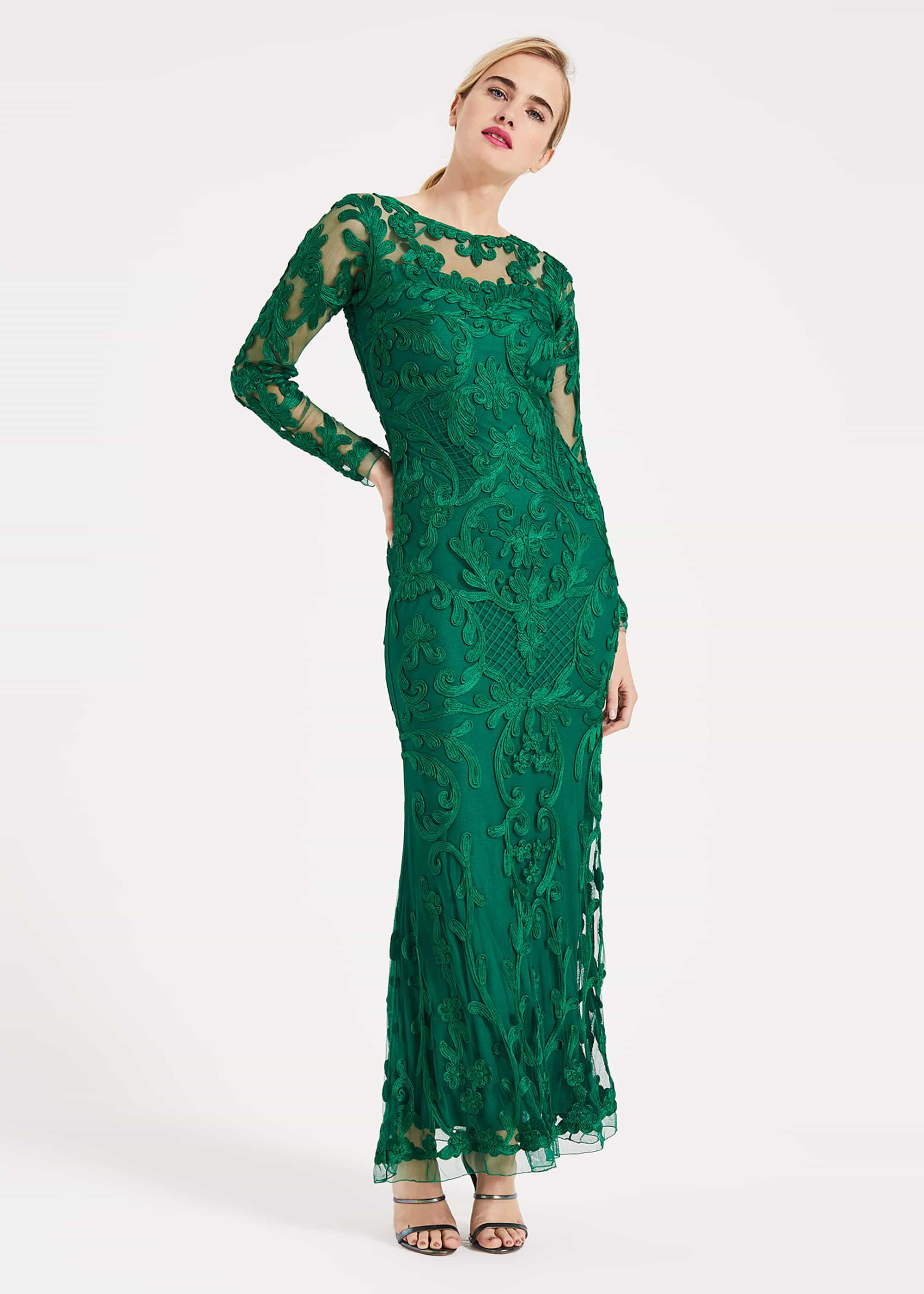 Phase Eight Nikita Tapework Lace Dress, Green, Maxi, Occasion Dress
