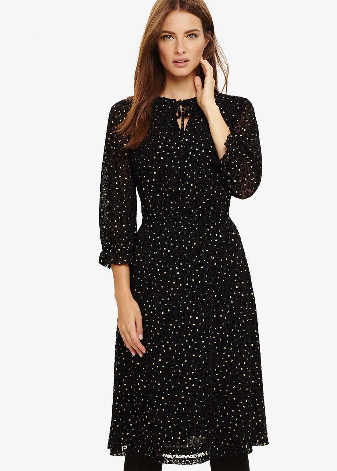 Phase Eight Francheska Flocked Midi Dress, Black, Fit & Flare
