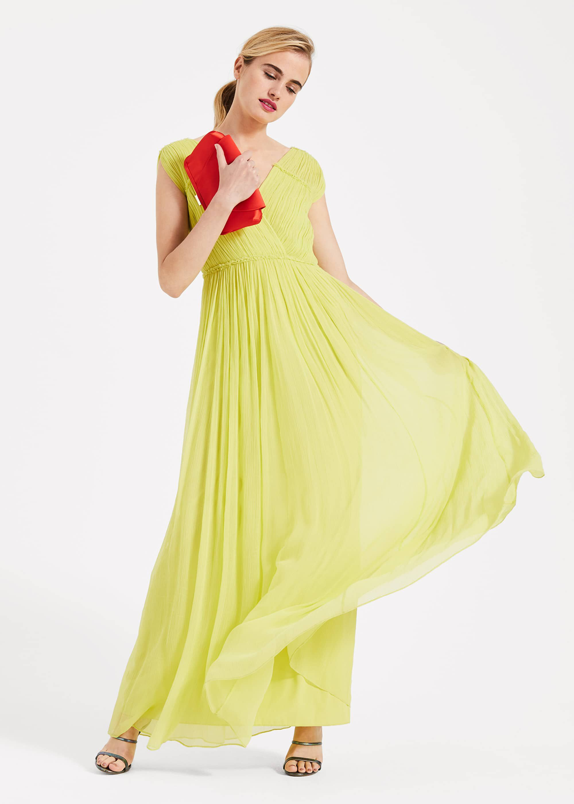 Phase Eight Marion Crinkle Maxi Dress, Yellow, Maxi, Occasion Dress