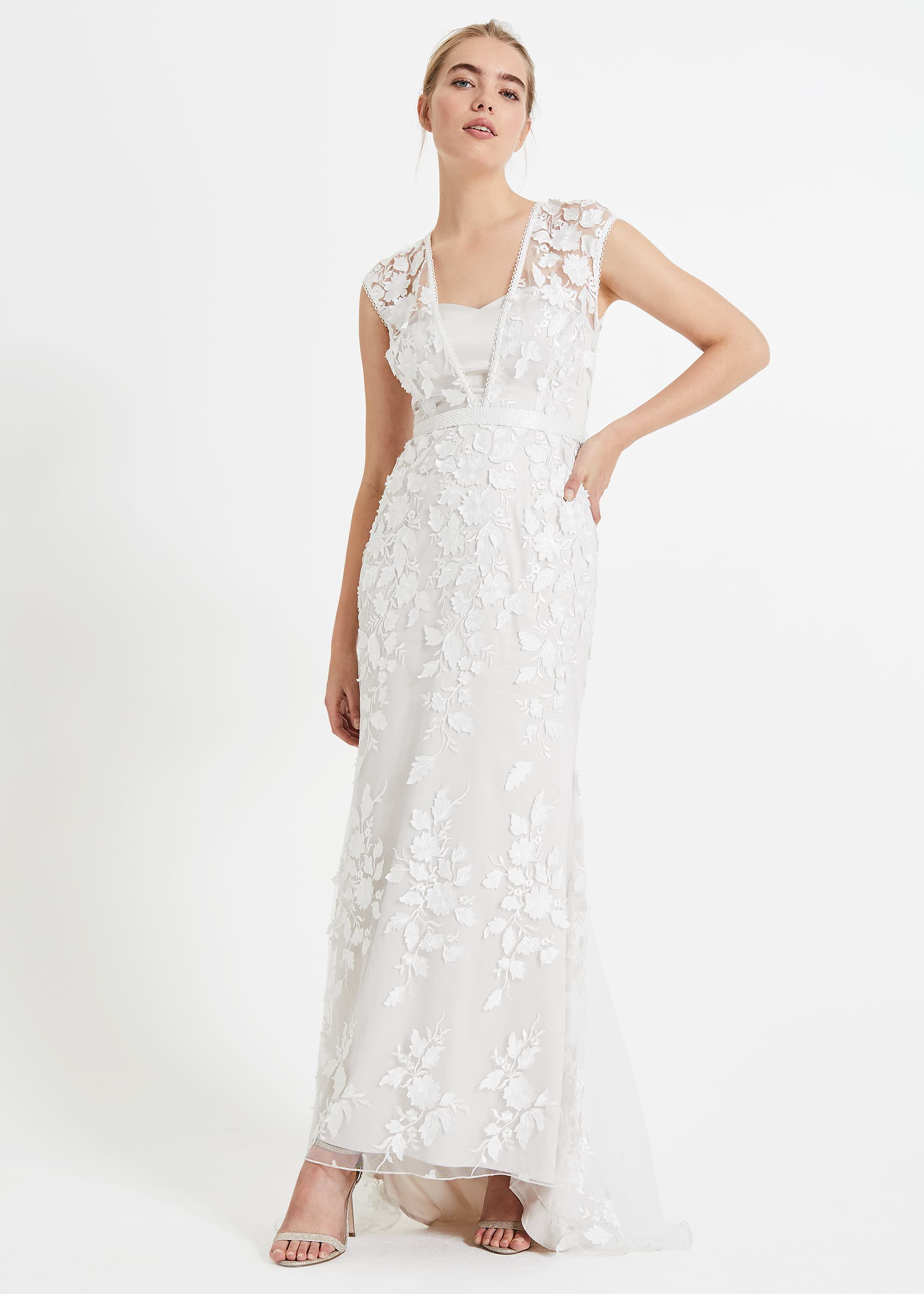 Phase Eight Peony 3d Lace Wedding Dress, Neutral, Maxi