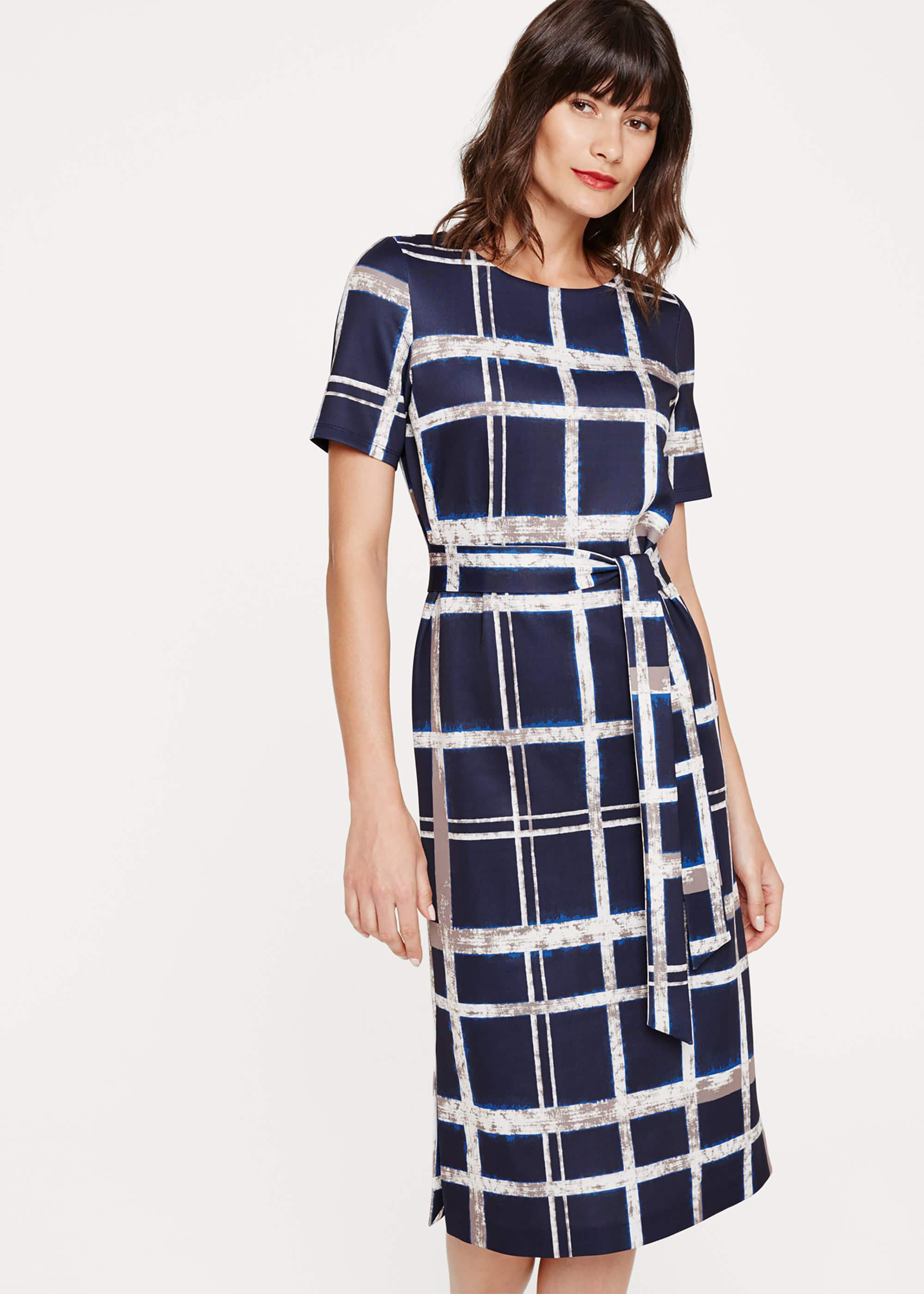 Phase Eight Cherelle Check Midi Dress, Blue, Shift