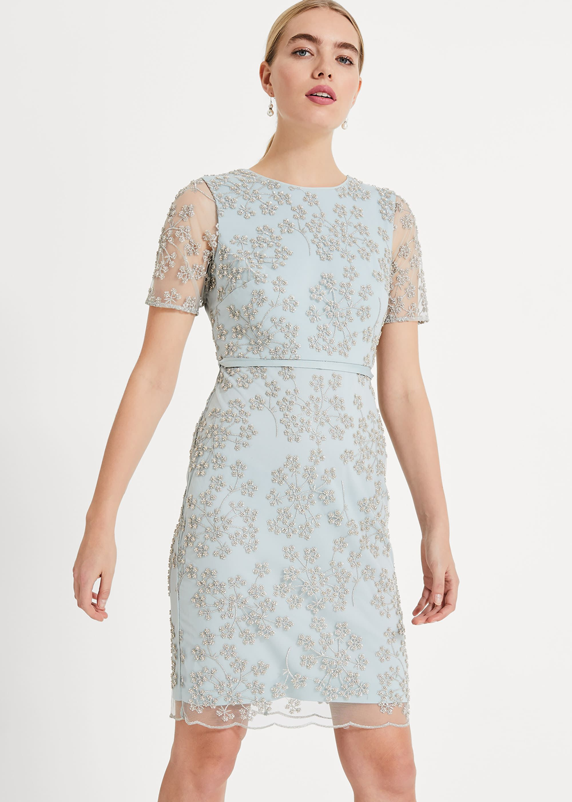 Phase Eight Anika Beaded Lace Dress, Neutral, Shift, Occasion Dress