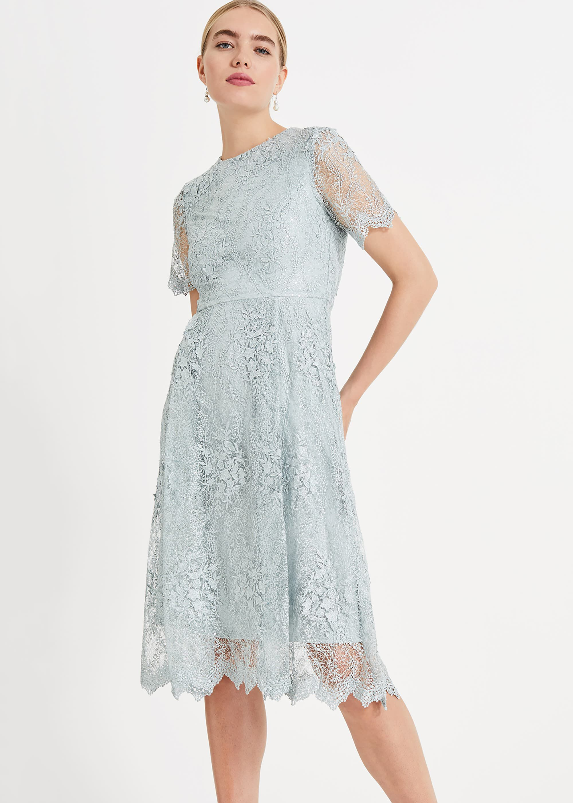 Phase Eight Malia Sequin Lace Dress, Pink, Fit & Flare, Occasion Dress