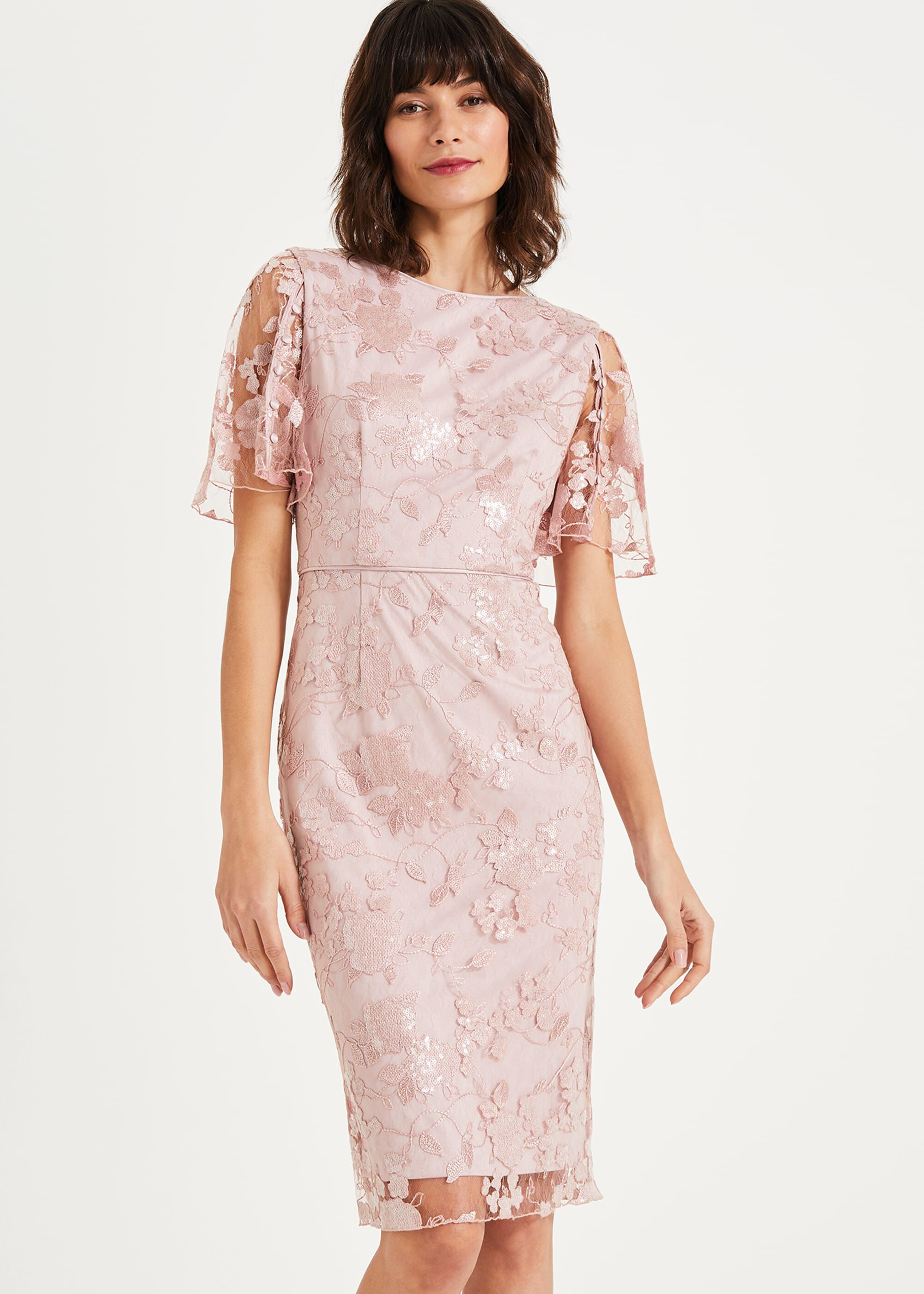 Phase Eight Harlow Sequin Lace Dress, Pink, Shift, Occasion Dress