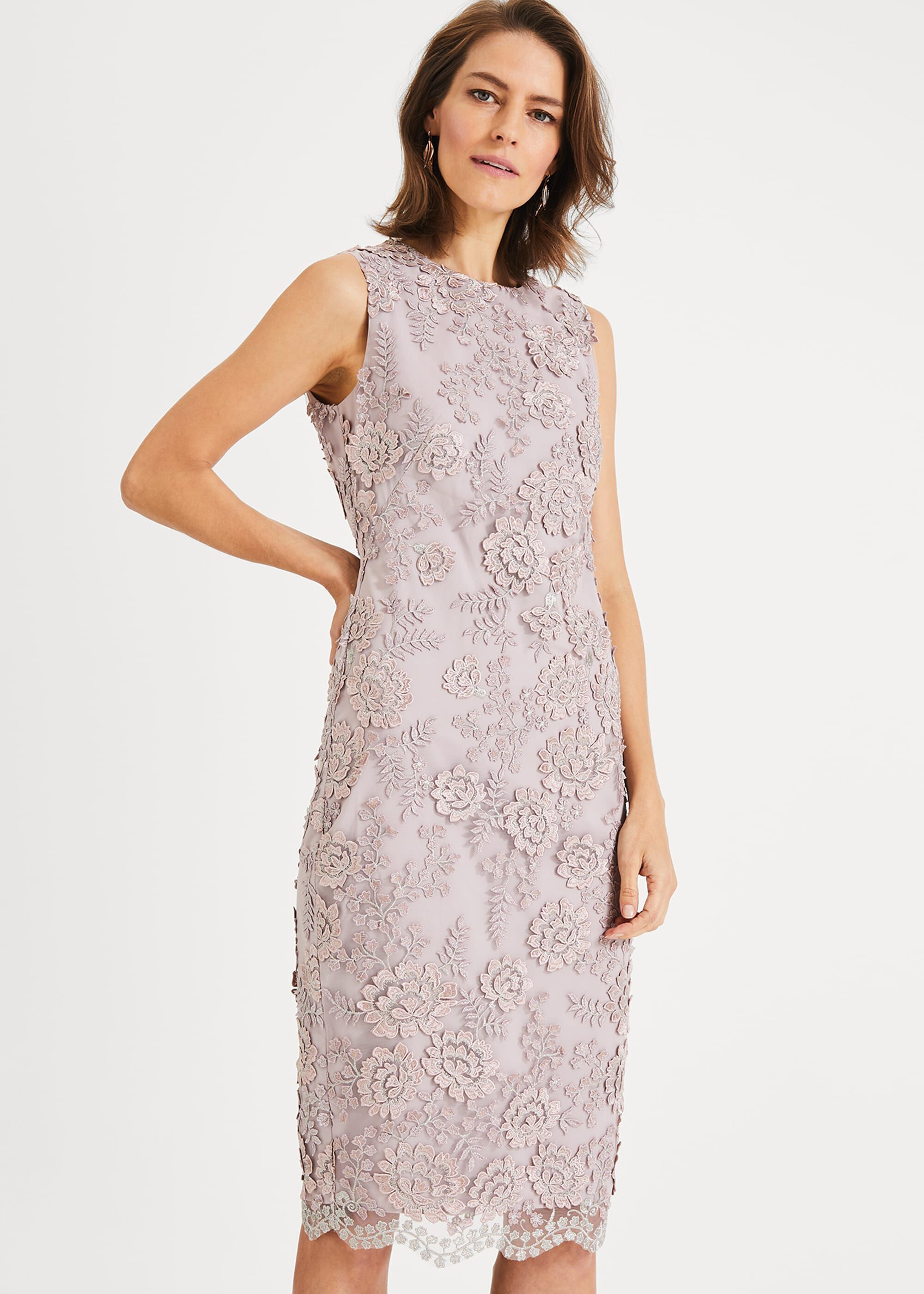 Phase Eight Teresa Metallic Lace Dress, Purple, Shift, Occasion Dress