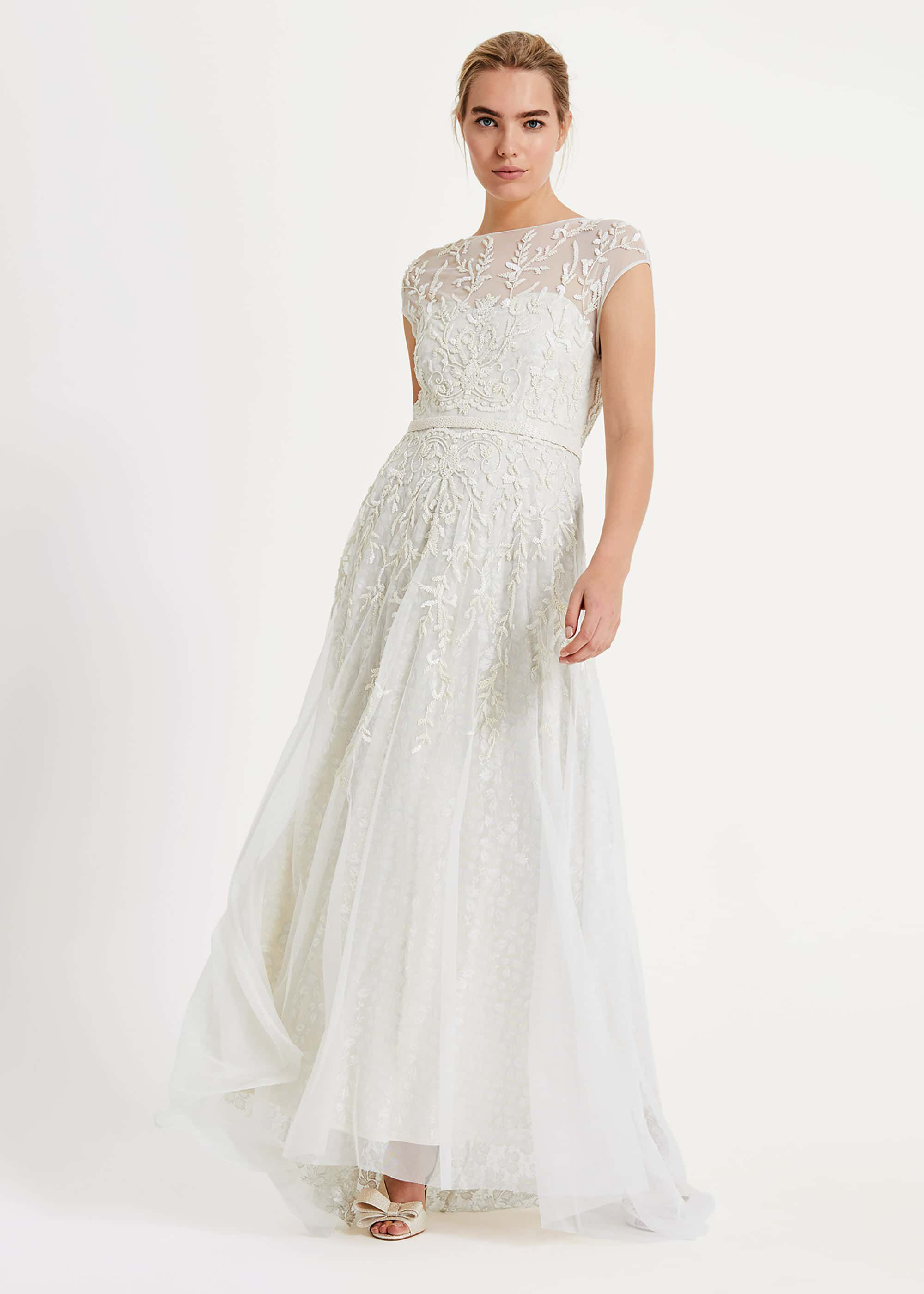 Phase Eight Mylee Embellished Wedding Dress, Cream, Maxi