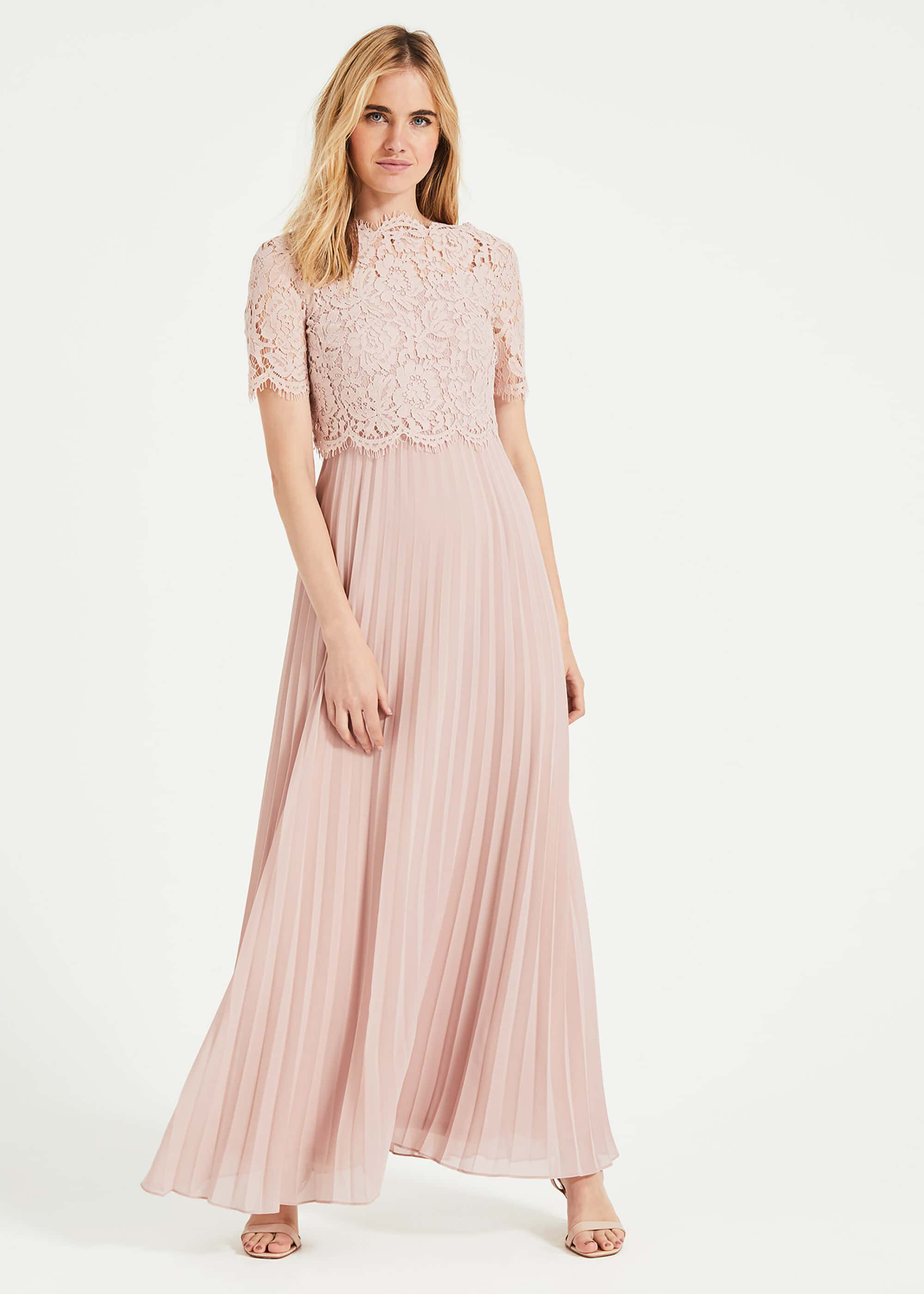 Phase Eight Elisabetta Lace Pleated Dress, Pink, Maxi