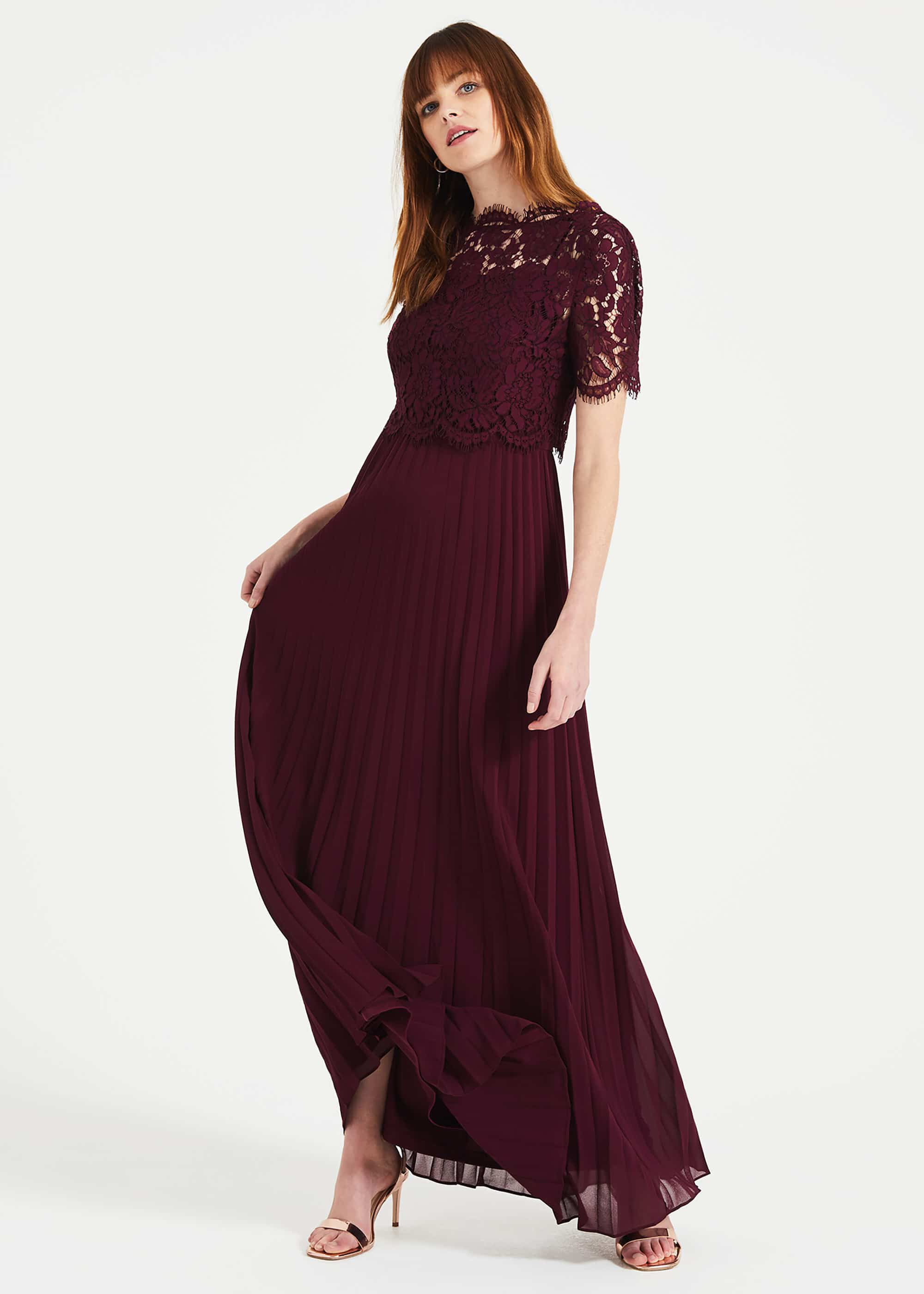 Phase Eight Elisabetta Lace Pleated Dress, Red, Maxi