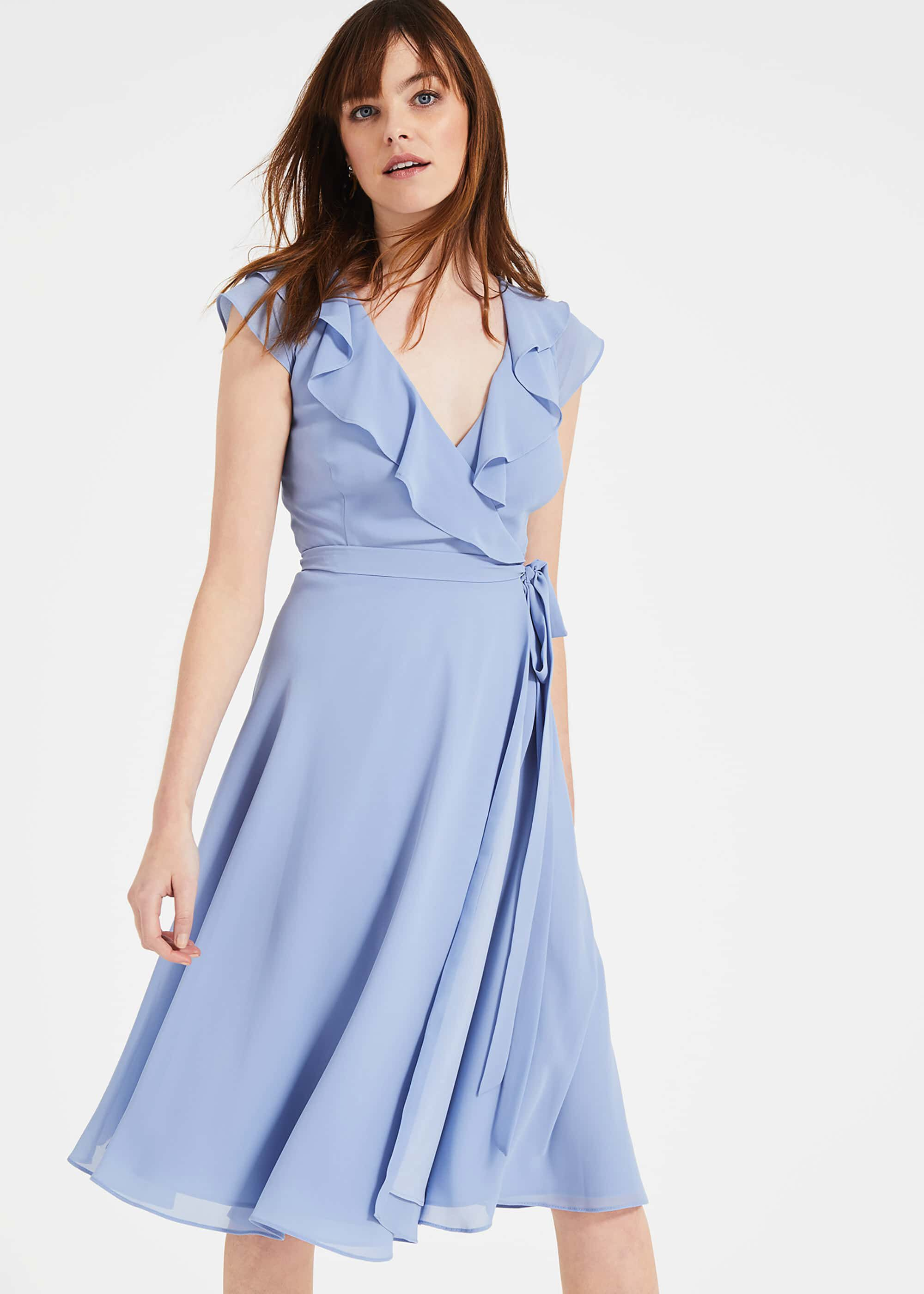 Phase Eight Allegra Wrap Dress, Blue, Fit & Flare, Occasion Dress