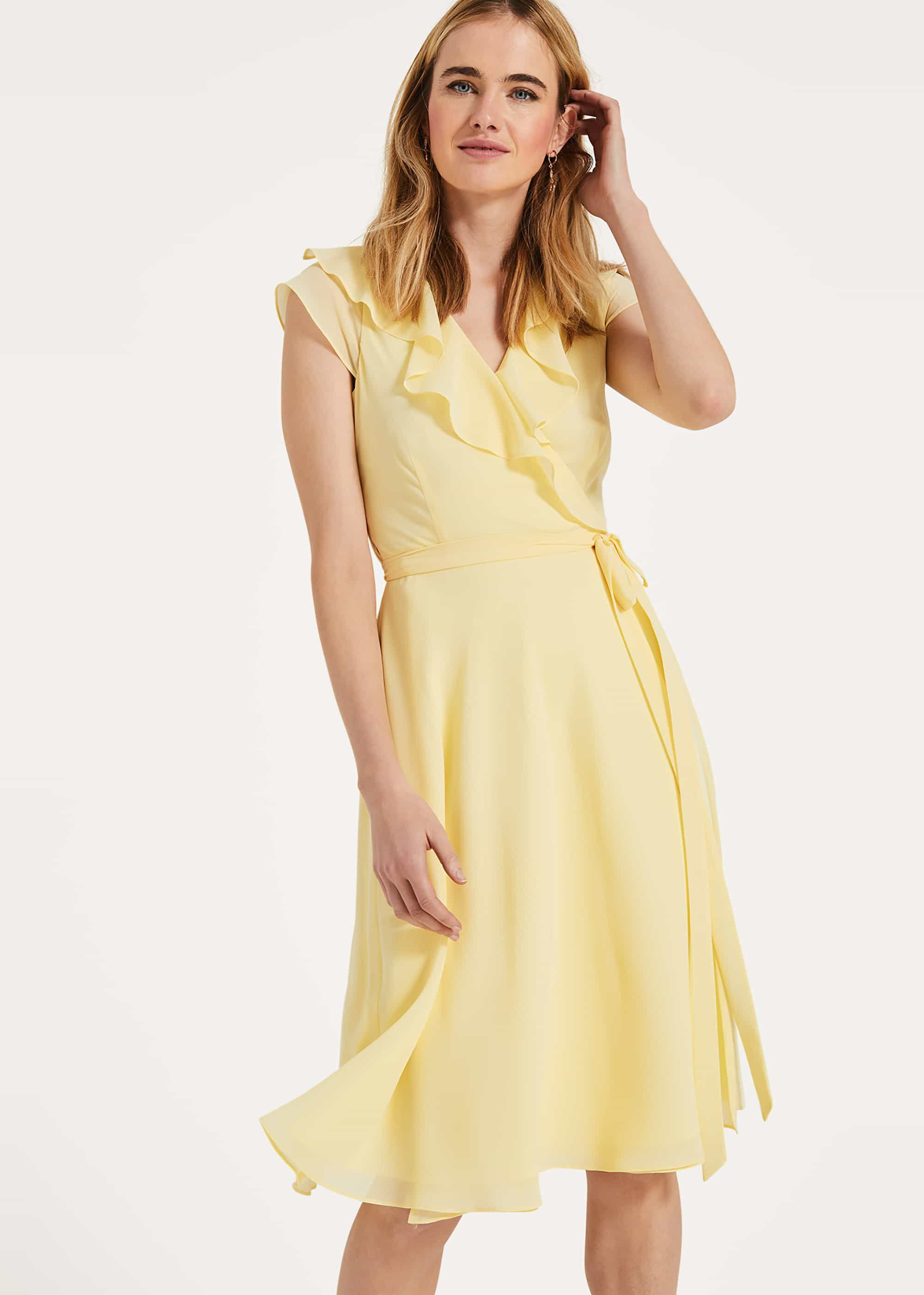 Phase Eight Allegra Wrap Dress, Yellow, Fit & Flare, Occasion Dress