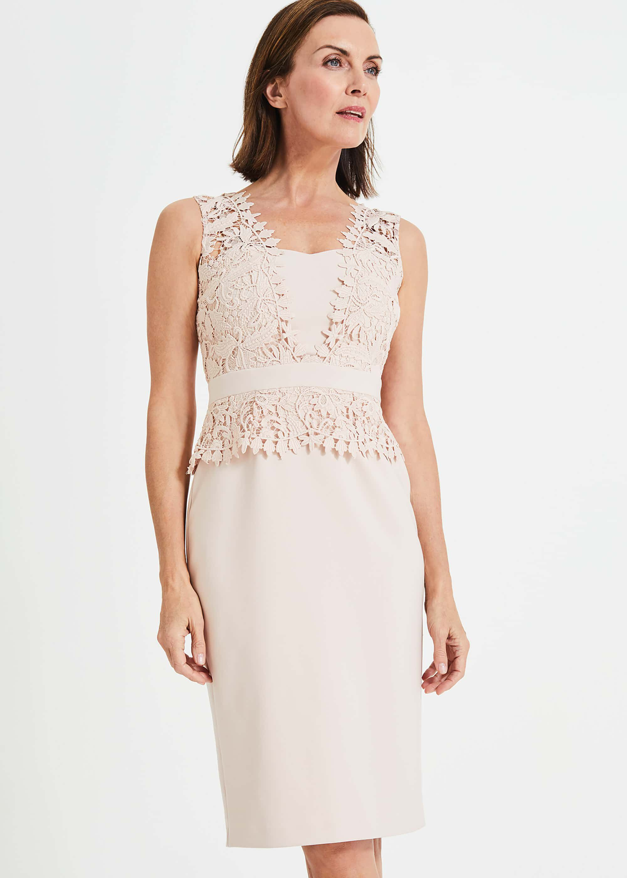 Phase Eight Harmony Lace Dress, Pink, Shift, Occasion Dress