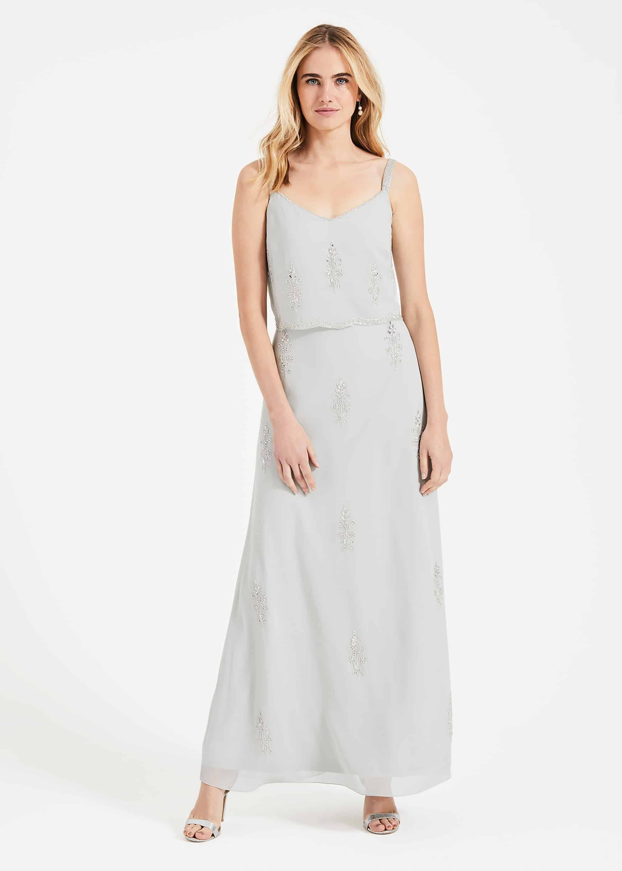 Phase Eight Agustina Beaded Maxi Dress, Blue, Maxi, Occasion Dress
