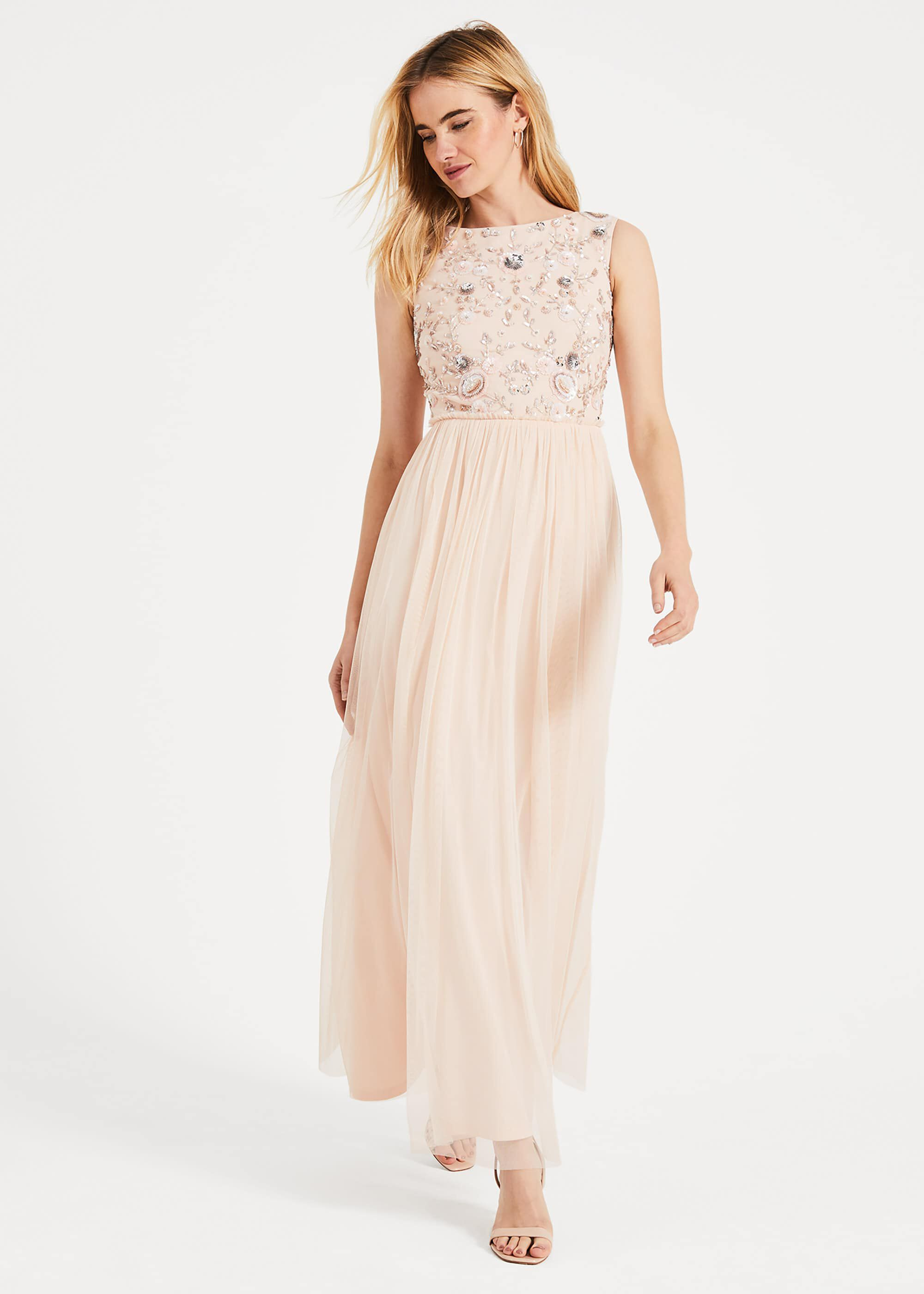 Phase Eight Rosario Beaded Maxi Dress, Pink, Maxi, Occasion Dress