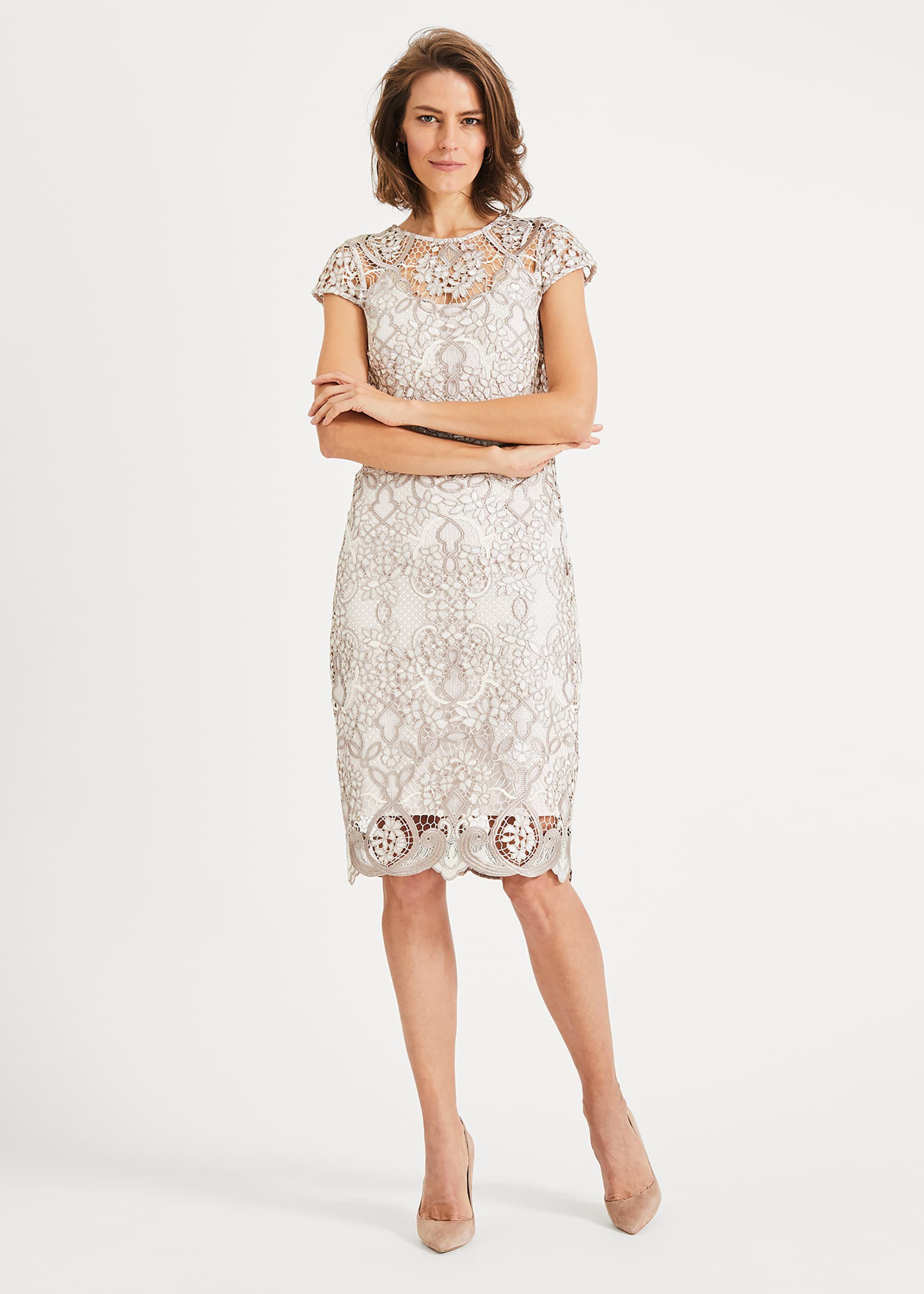 Phase Eight Frances Lace Dress, Cream, Shift, Occasion Dress