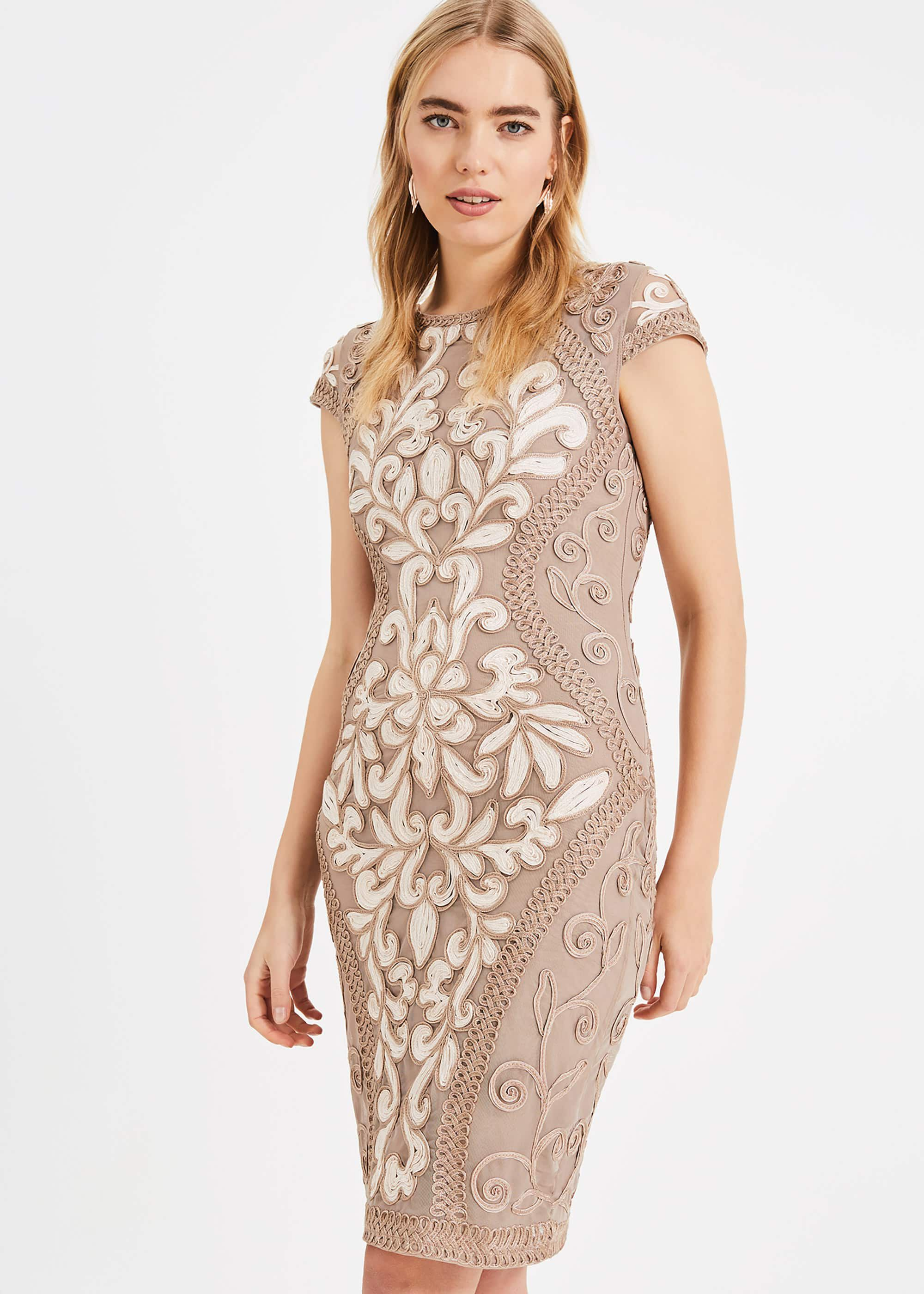 Phase Eight Perdy Tapework Dress, Cream, Fitted, Occasion Dress