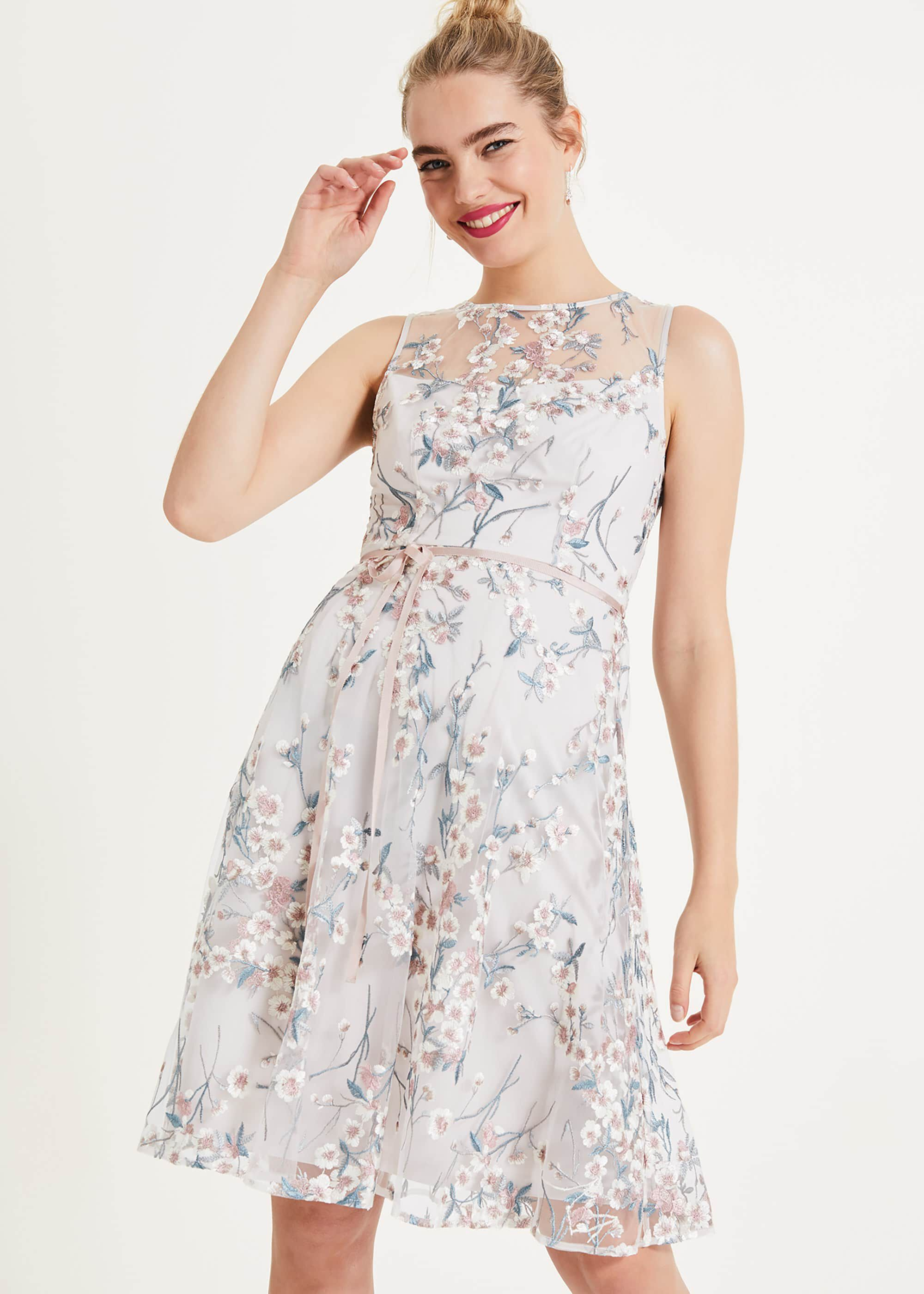 Phase Eight Maddy Embroidered Dress, Cream, Fit & Flare