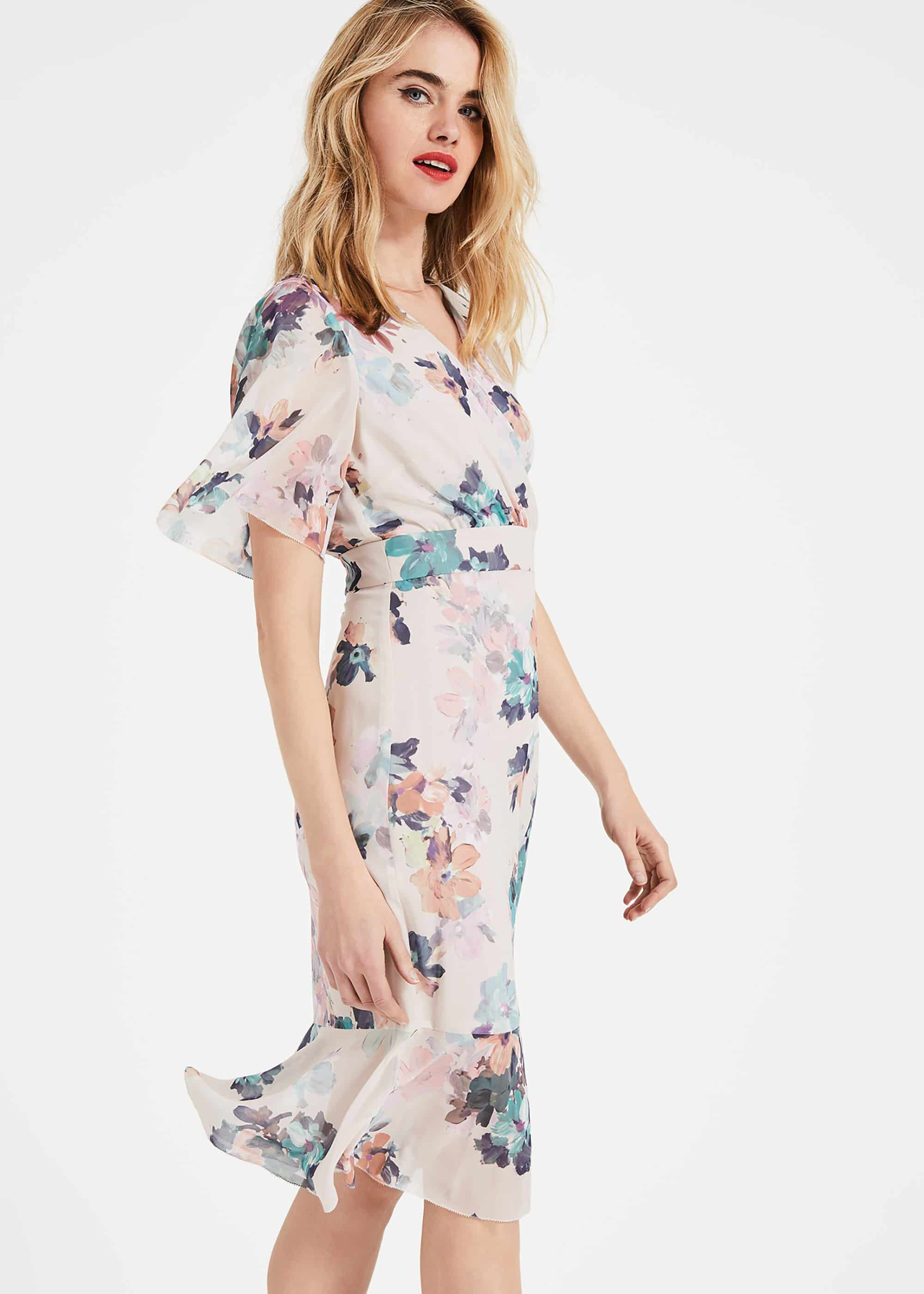 Phase Eight Keely Floral Dress, Cream, Shift, Occasion Dress