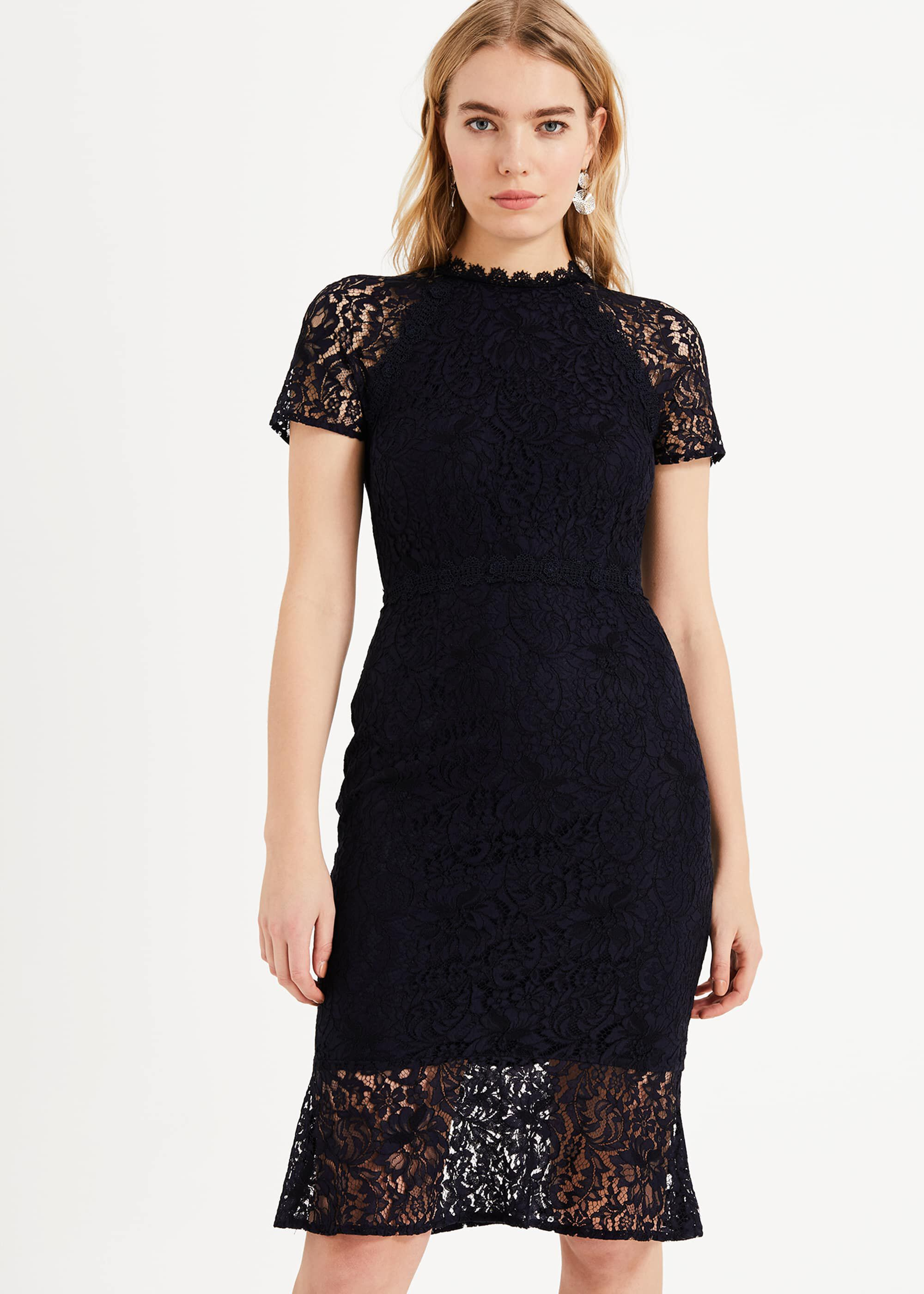 Phase Eight Mabel Lace Dress, Blue, Shift, Occasion Dress