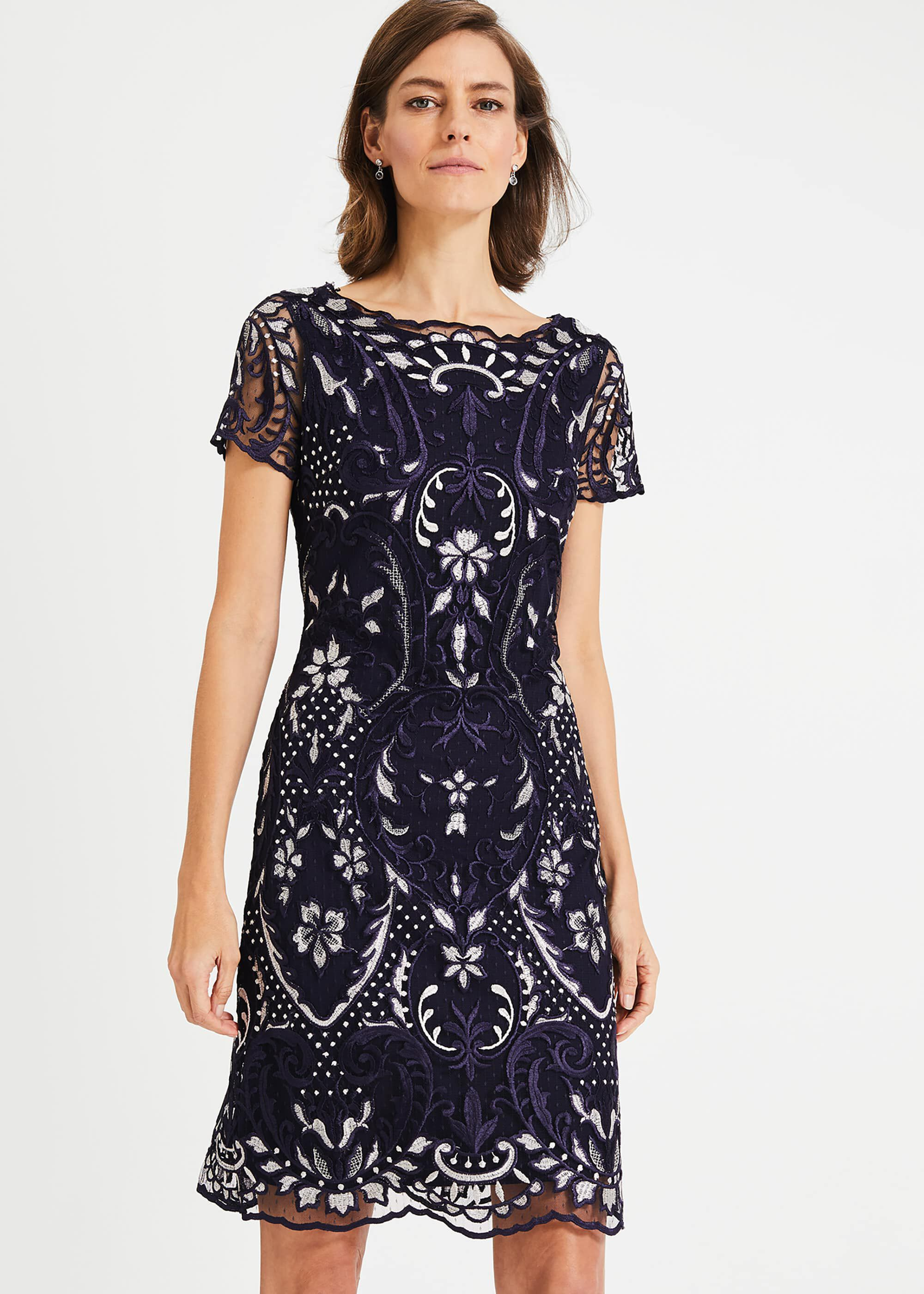 Phase Eight Lizzy Embroidered Dress, Blue, Shift, Occasion Dress