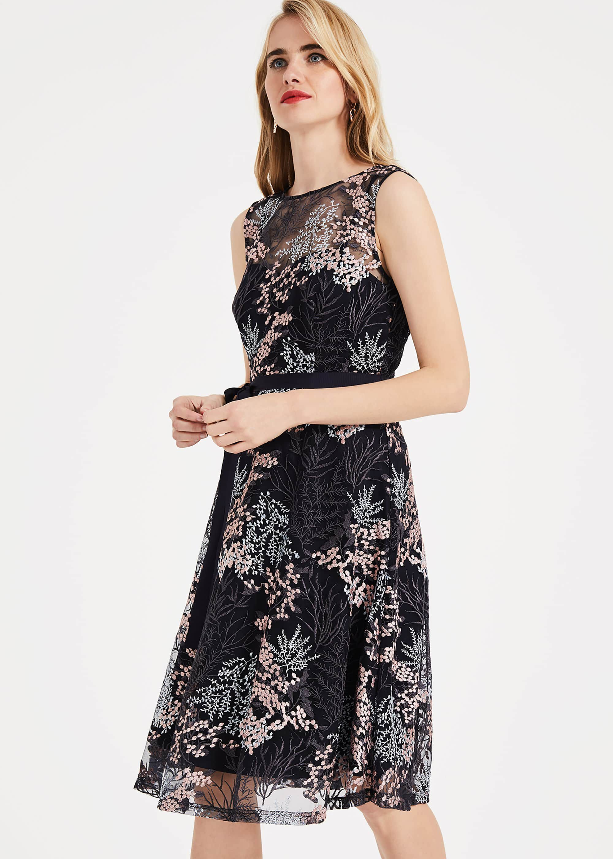 Phase Eight Audrina Embroidered Dress, Multicoloured, Fit & Flare, Occasion Dress