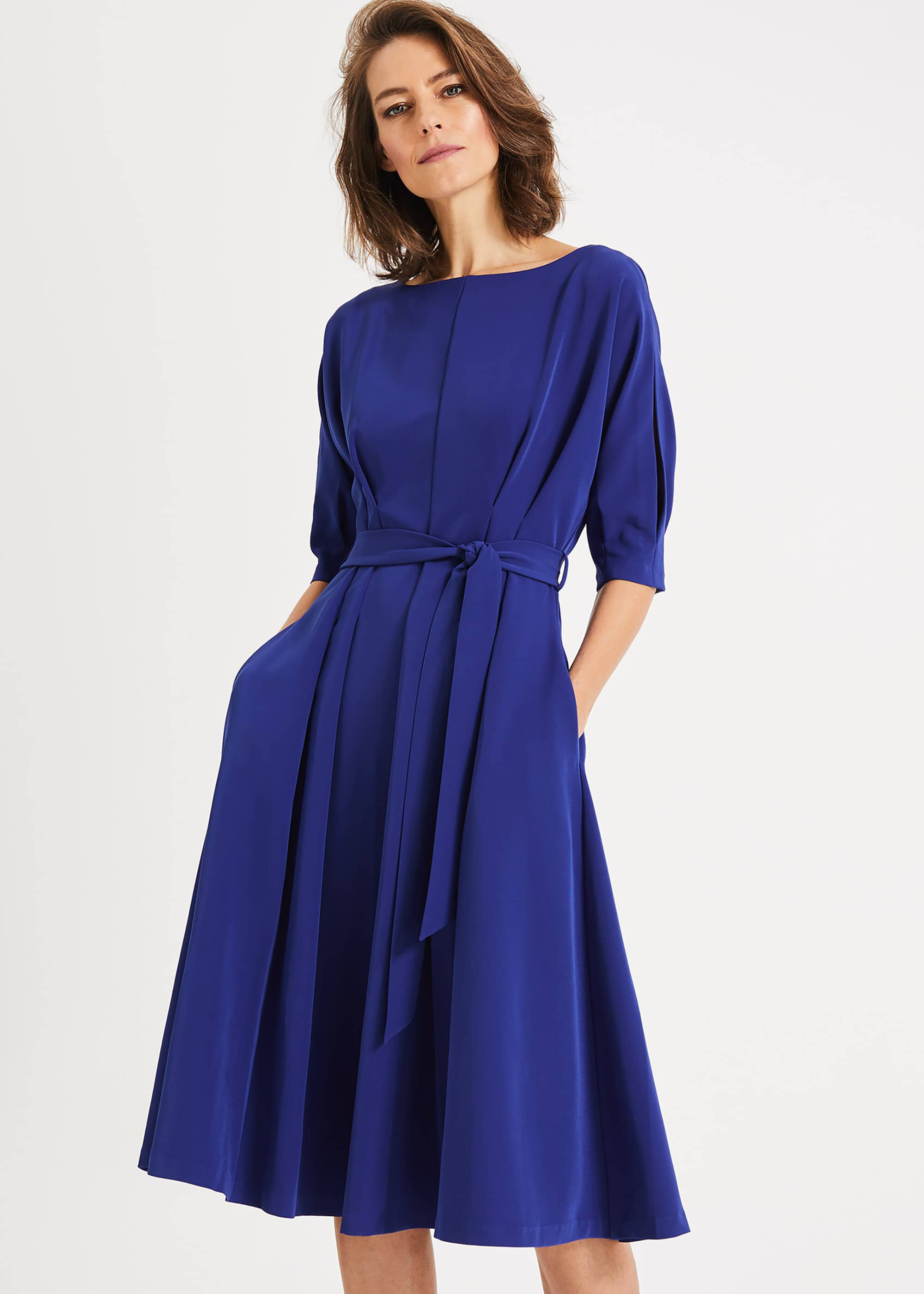 Phase Eight Cleo Tie Waist Dress, Blue, Fit & Flare, Occasion Dress