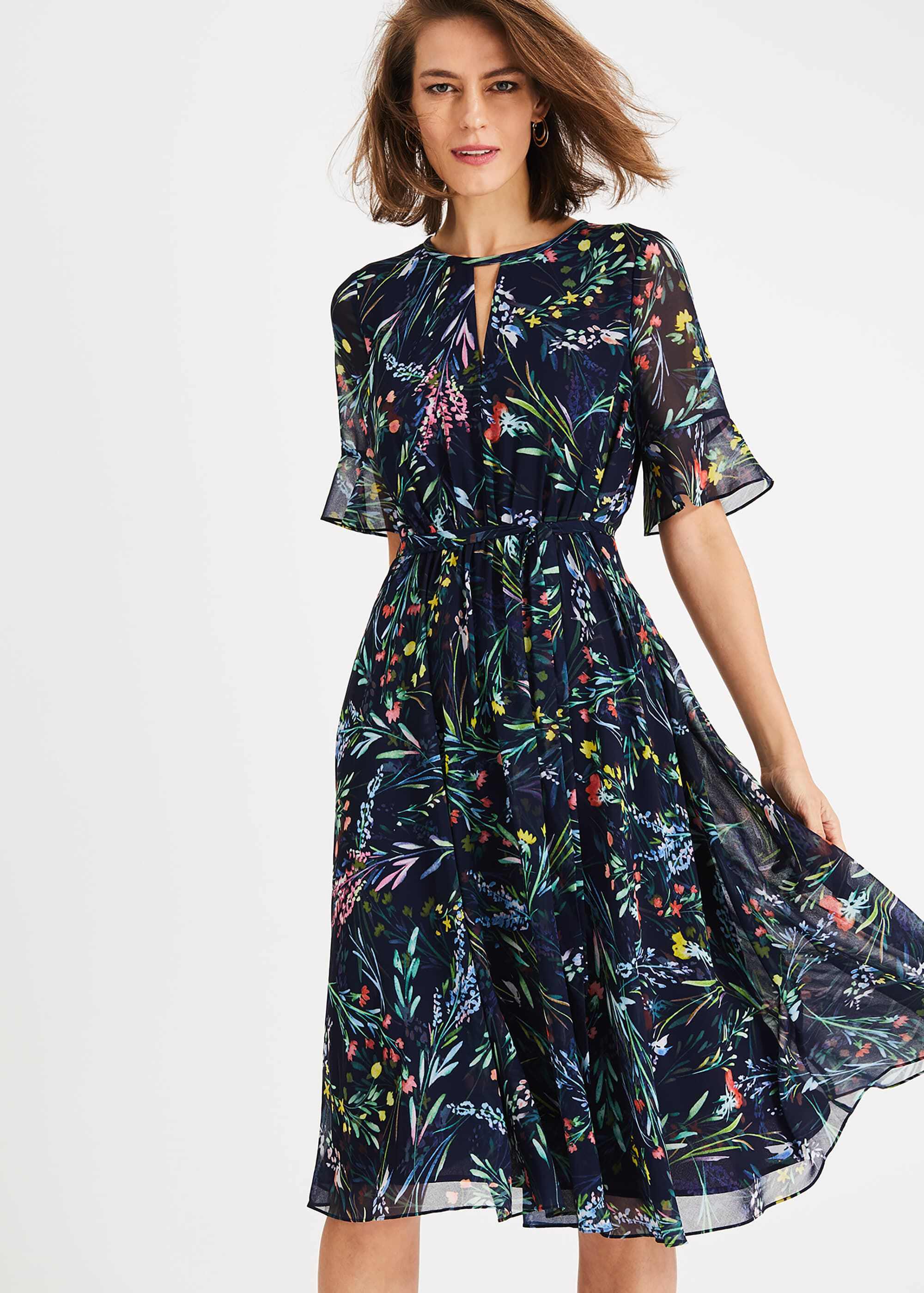 Phase Eight Kristen Floral Print Dress, Blue, Fit & Flare, Occasion Dress