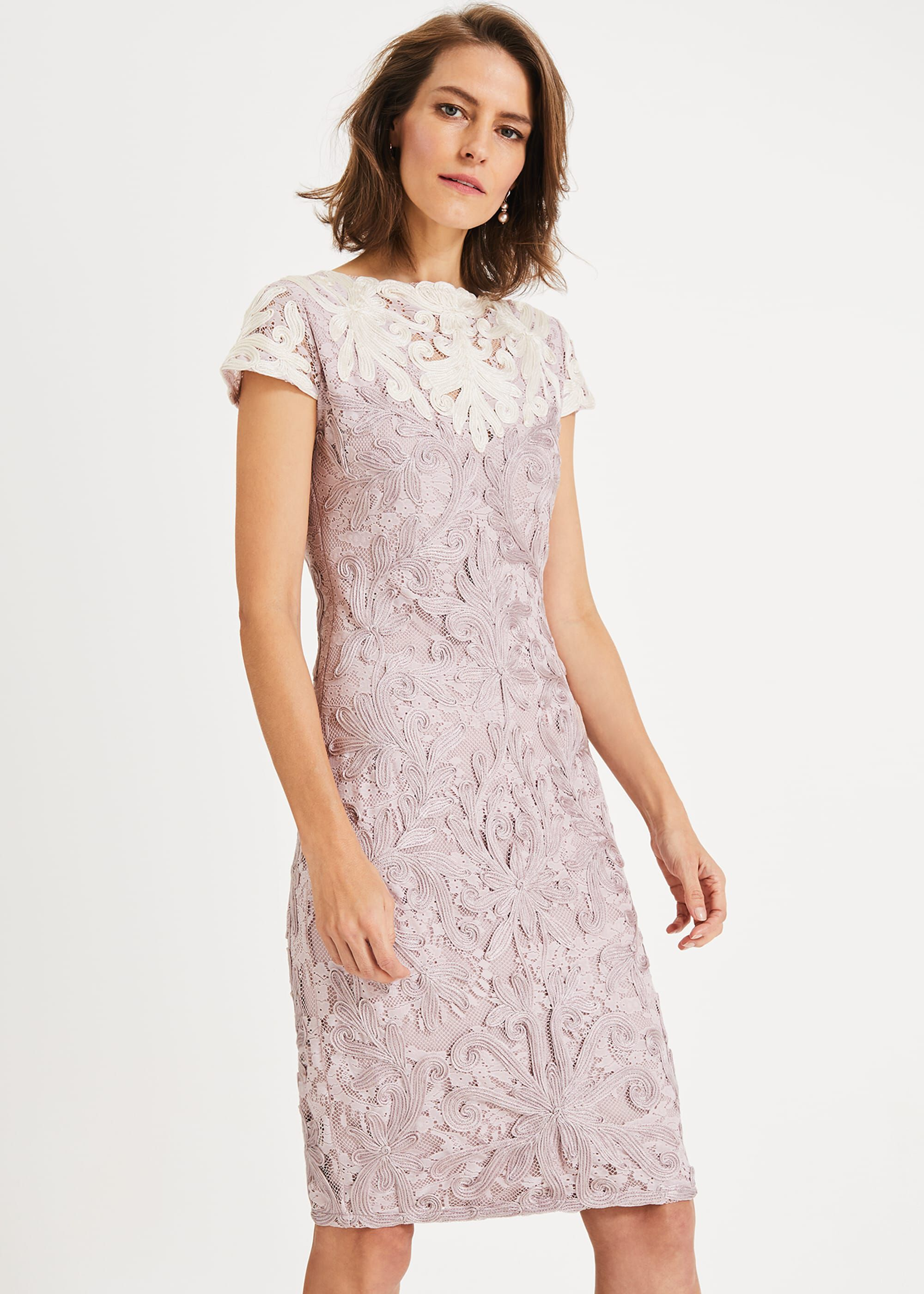 Phase Eight Jana Tapework Lace Dress, Pink, Fitted