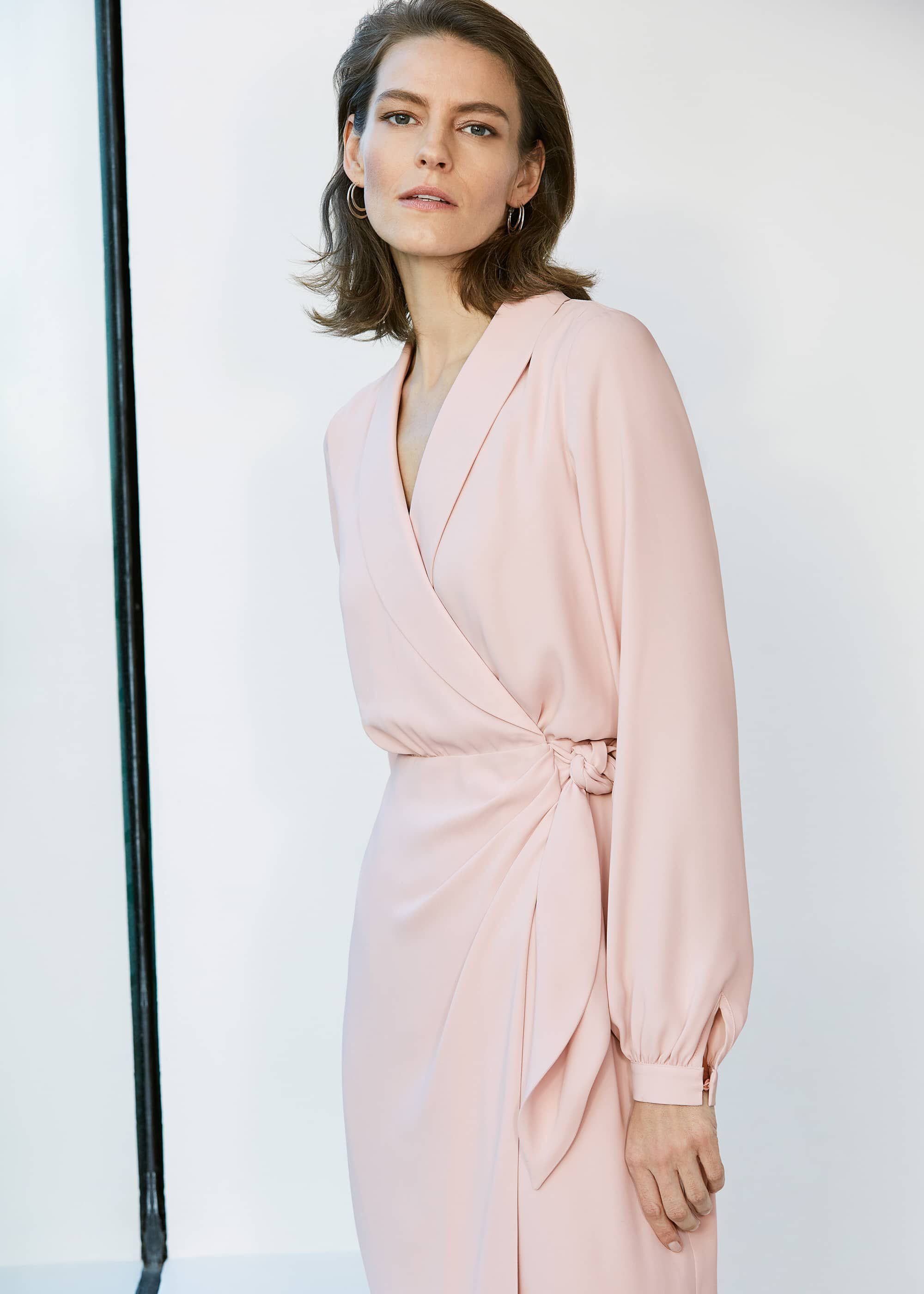 Phase Eight Briella Wrap Woven Dress, Pink, Wrap, Occasion Dress