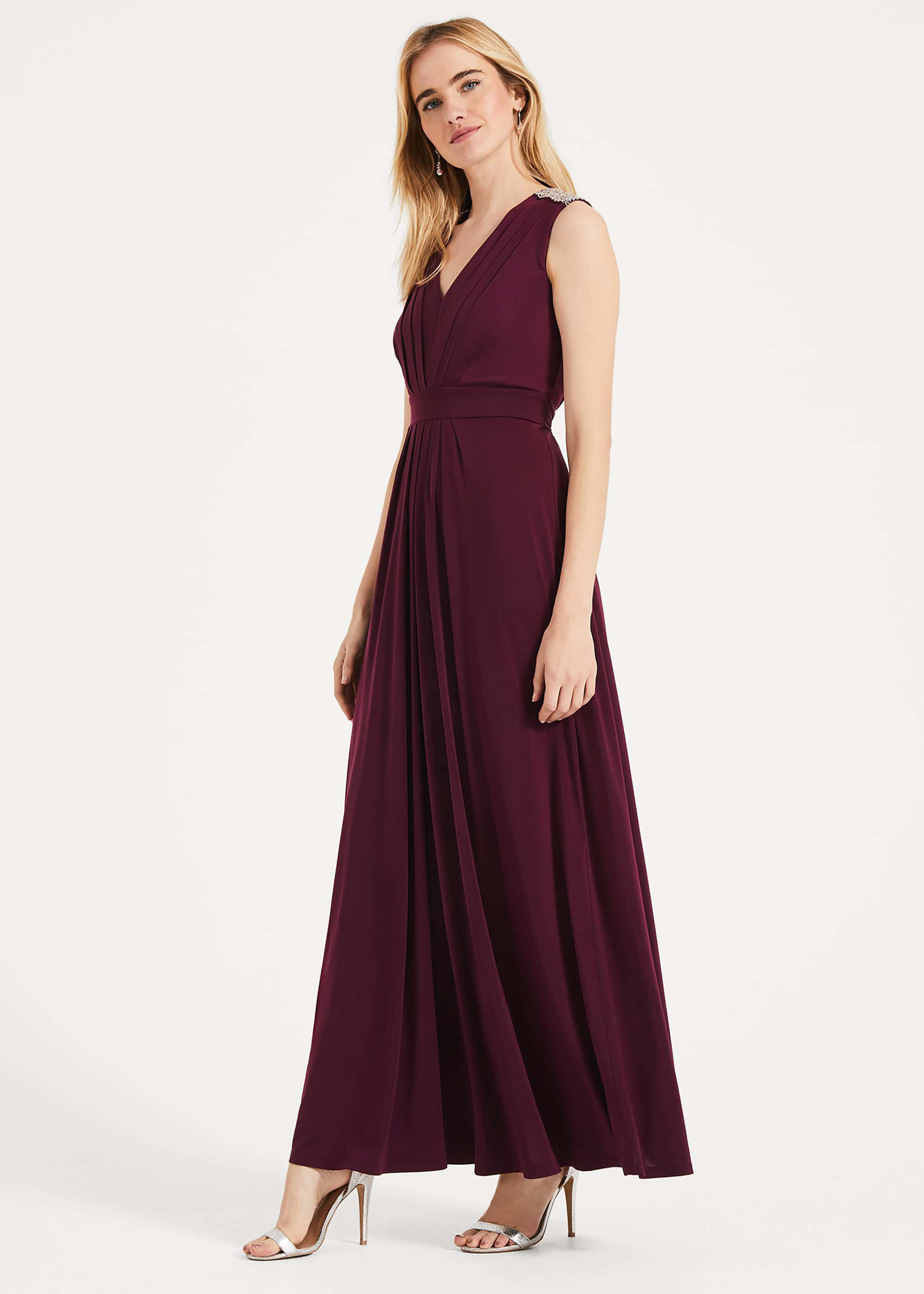Phase Eight Tomasi Beaded Shoulder Dress, Red, Maxi, Occasion Dress