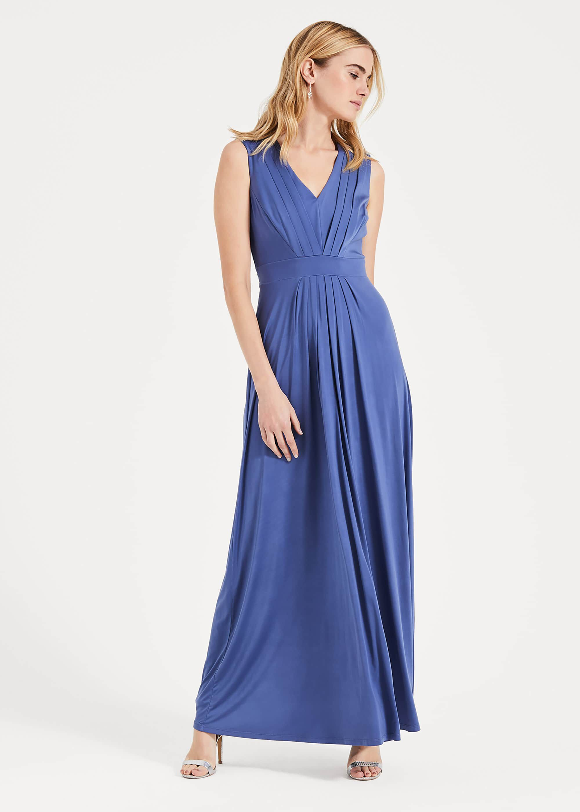 Phase Eight Tomasi Beaded Shoulder Dress, Blue, Maxi, Occasion Dress