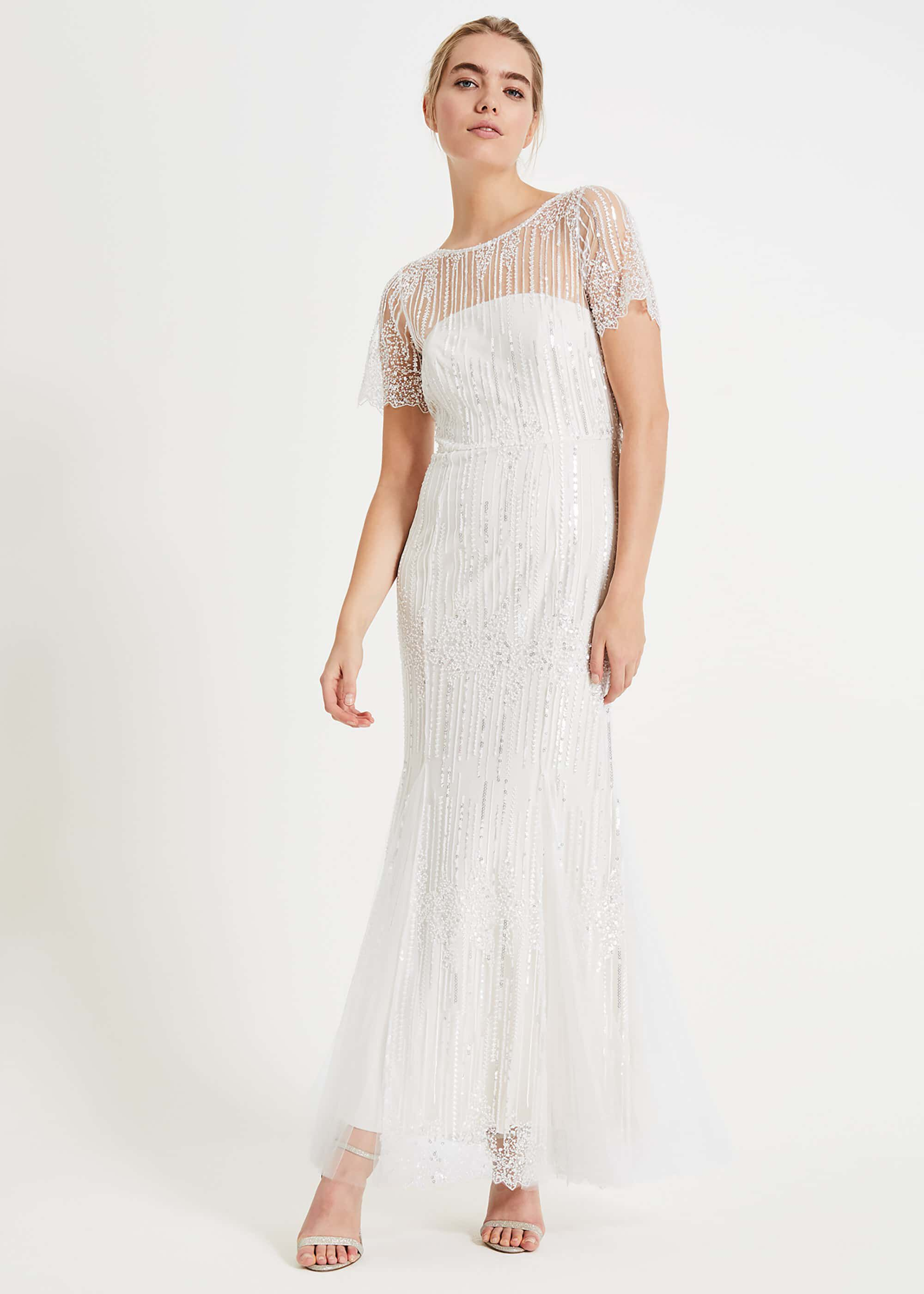 1930s Style Wedding Dresses | Art Deco Wedding Dress Phase Eight Leonora Sequin Embroidered Bridal Dress Neutral Maxi £345.00 AT vintagedancer.com