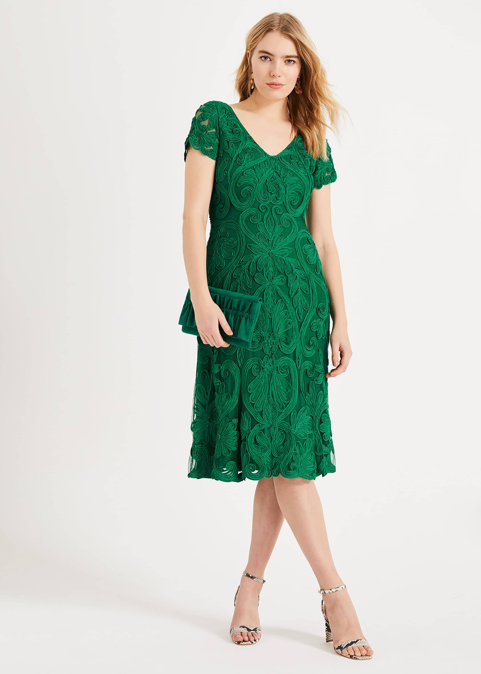 Phase Eight Kady Tapework Lace Dress, Green, Fit & Flare
