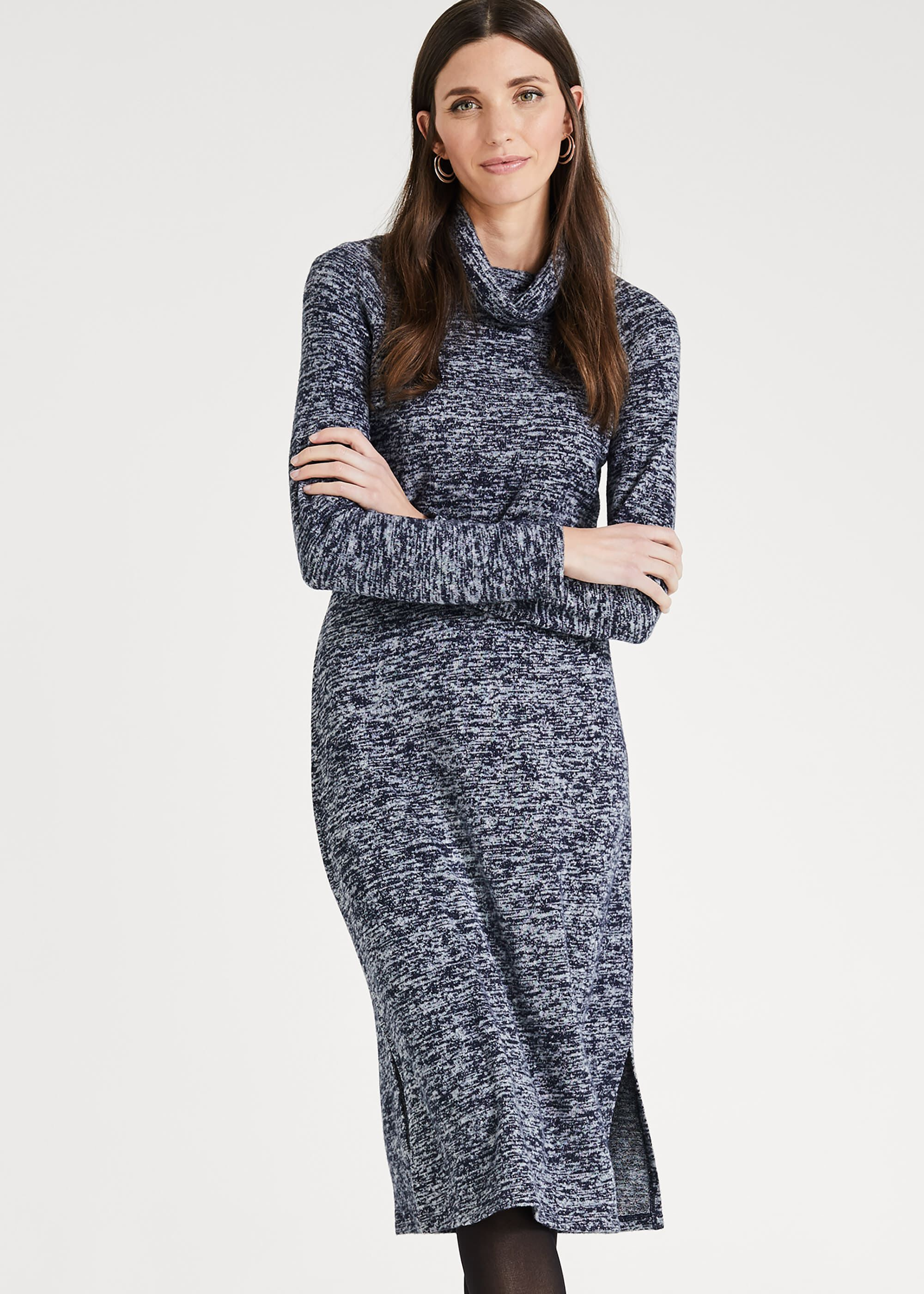 Phase Eight Sherry Snuggle Midi Dress, Blue, Fitted