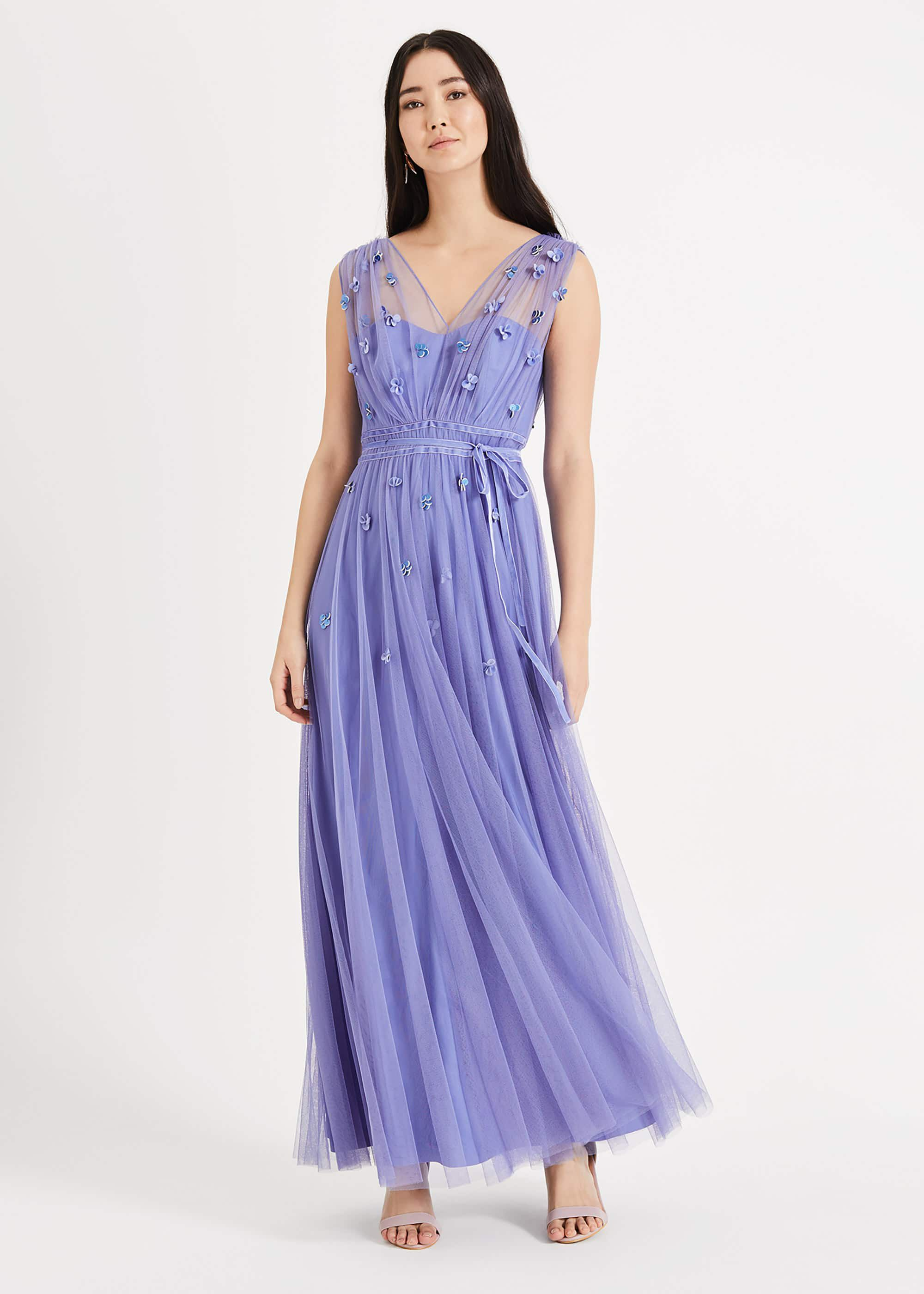 Phase Eight Yazmina Tulle Maxi Dress, Blue, Maxi