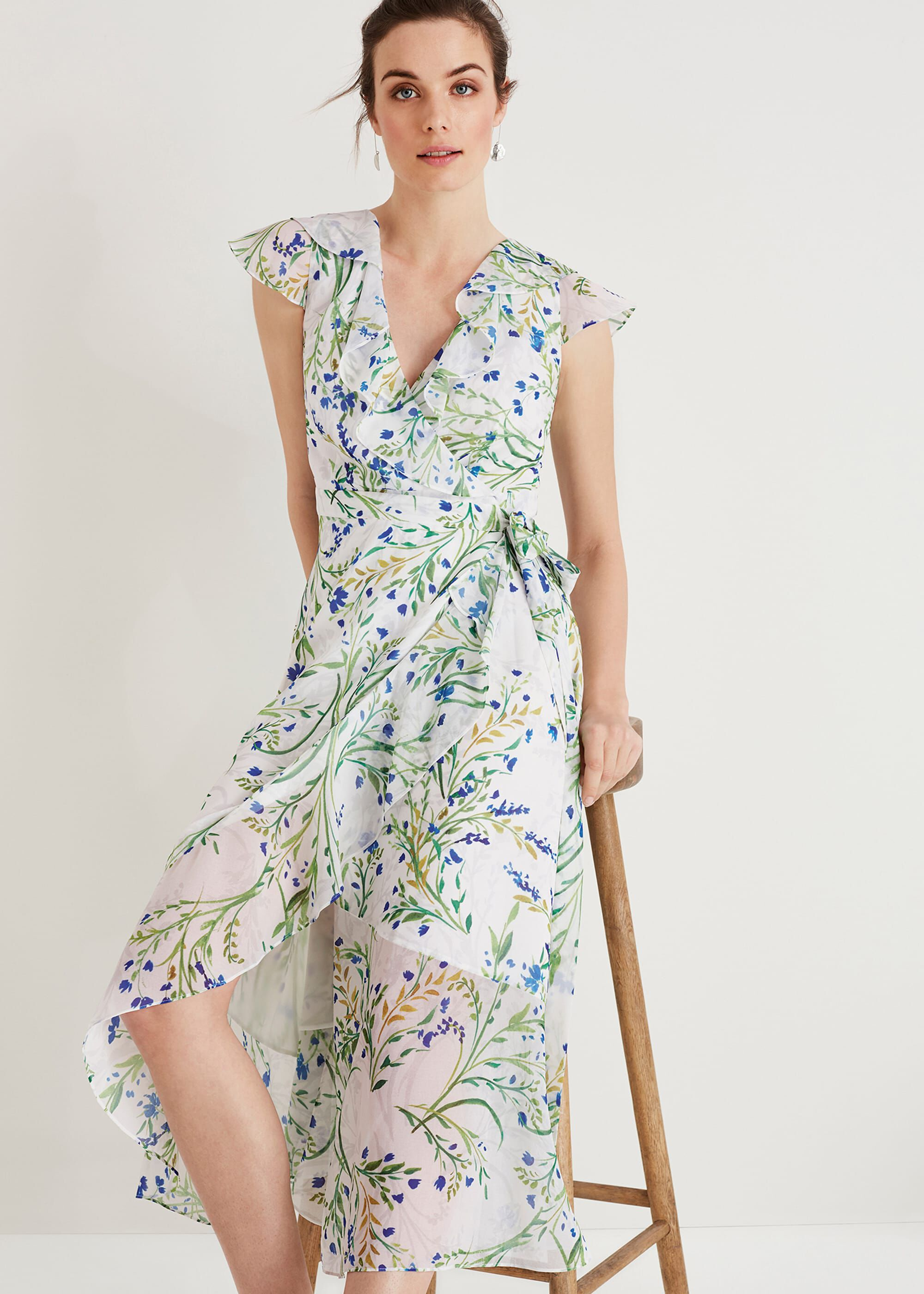 Phase Eight Flavia Floral Wrap Dress, Cream, Wrap, Occasion Dress