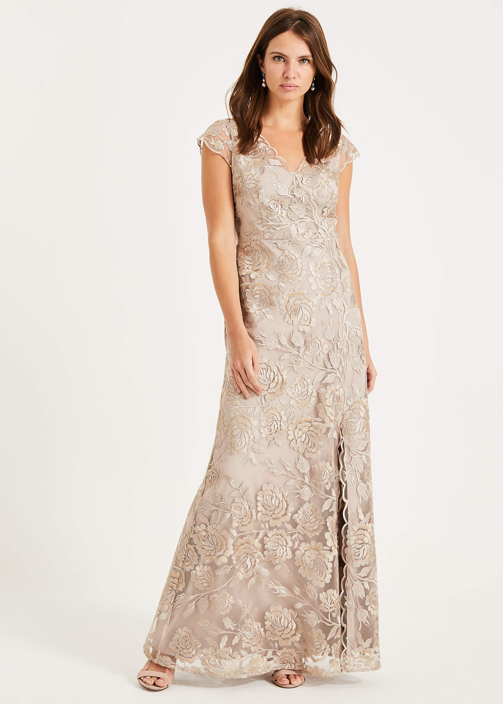 Phase Eight Velma Lace Maxi Dress, Brown, Maxi
