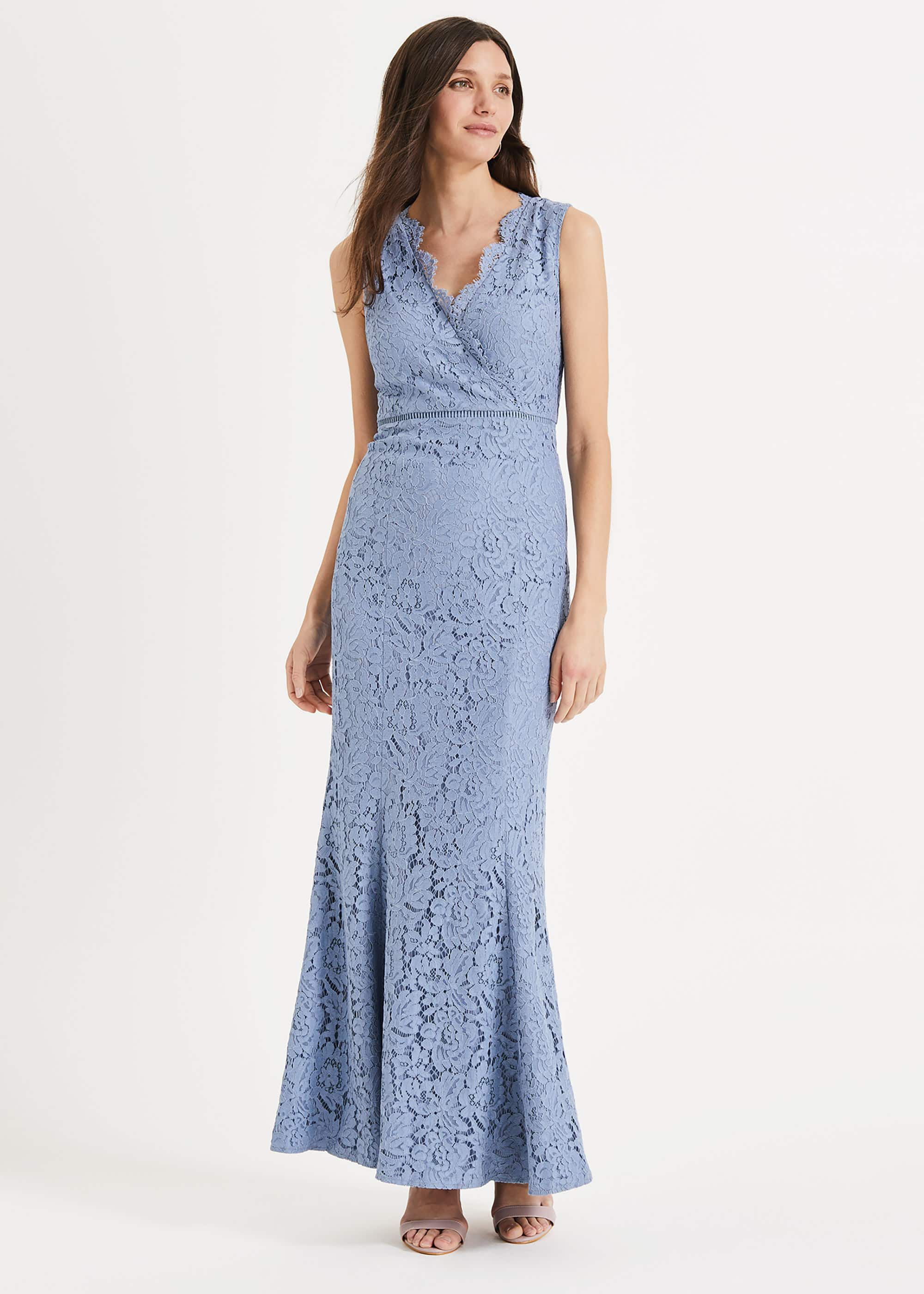 Phase Eight Paola Lace Fishtail Dress, Blue, Maxi, Occasion Dress