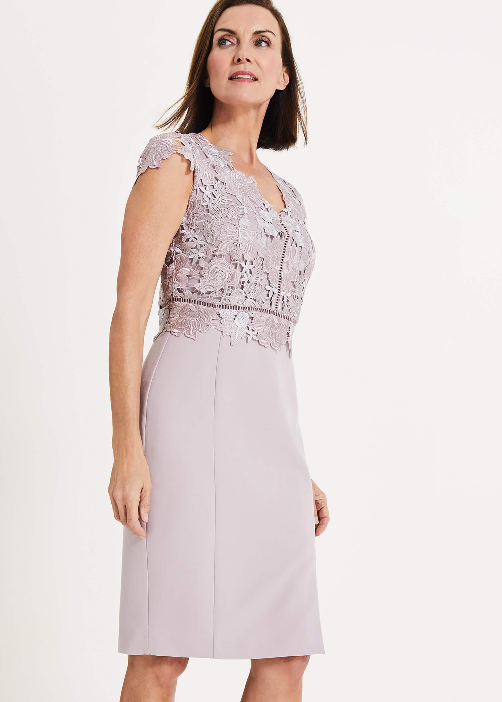 Phase Eight Caroline Lace Bodice Dress, Purple, Shift