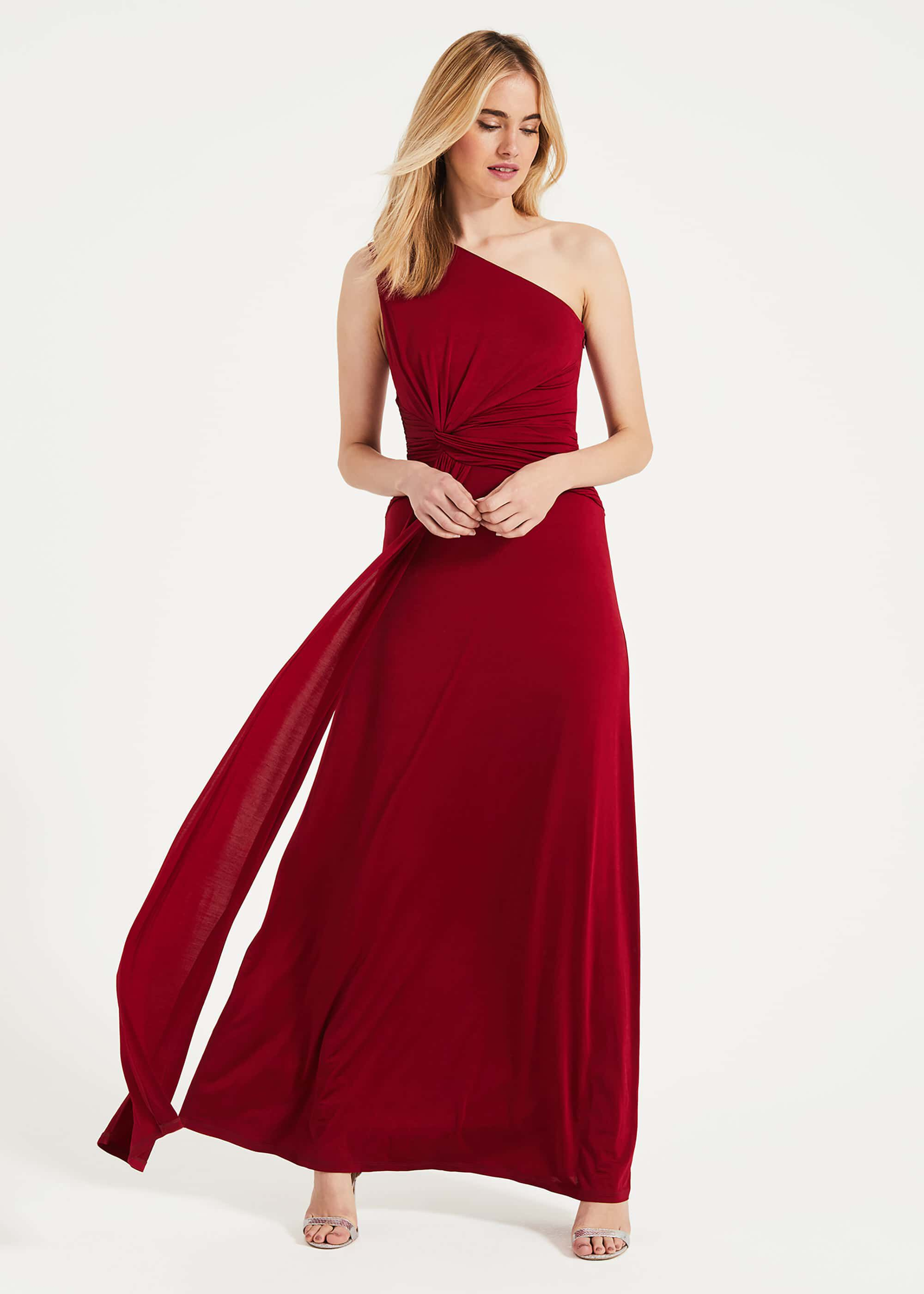 Phase Eight Jojo One Shoulder Dress, Red, Maxi, Occasion Dress