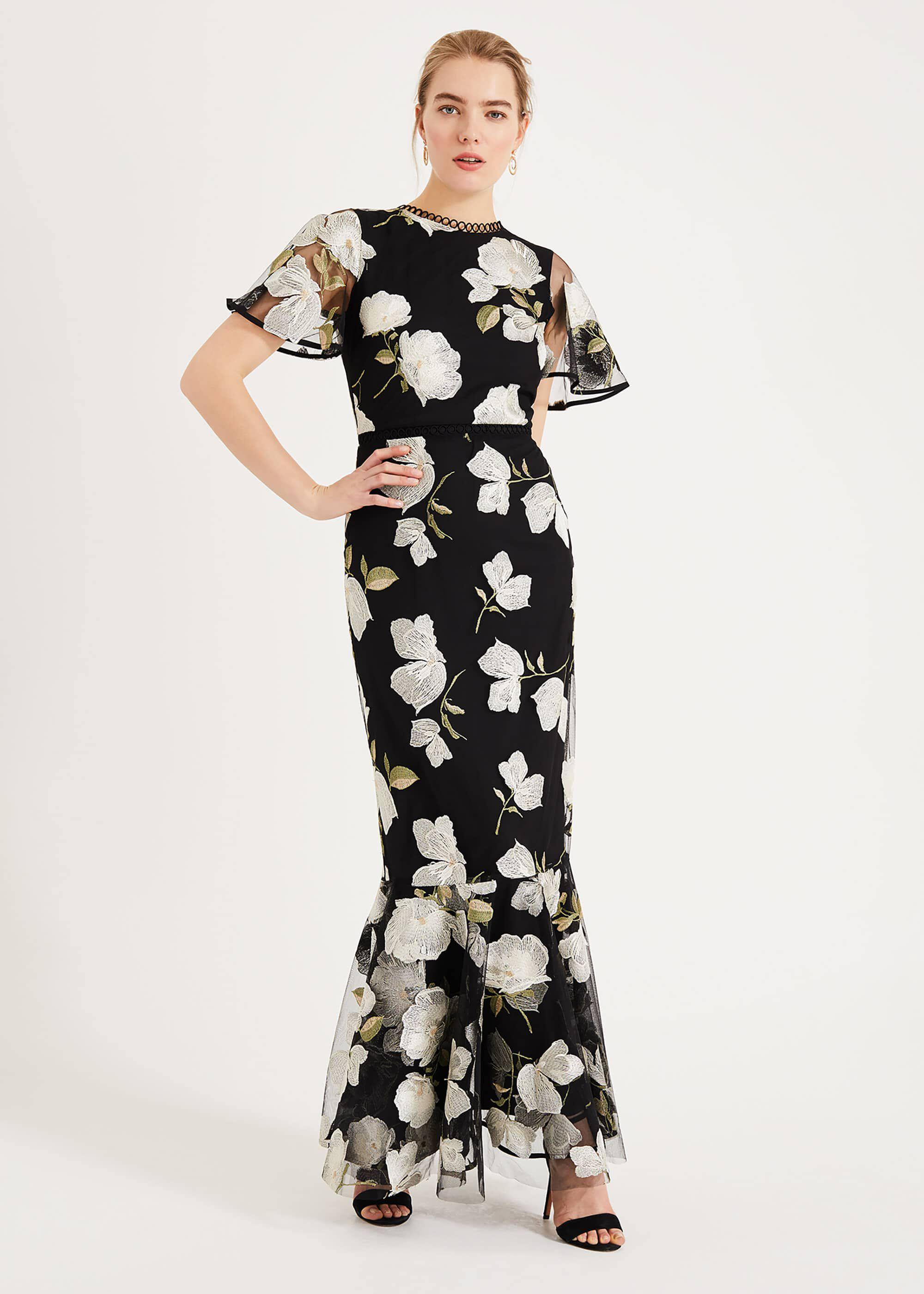 Phase Eight Christine Embroidered Maxi Dress, Black, Maxi, Occasion Dress