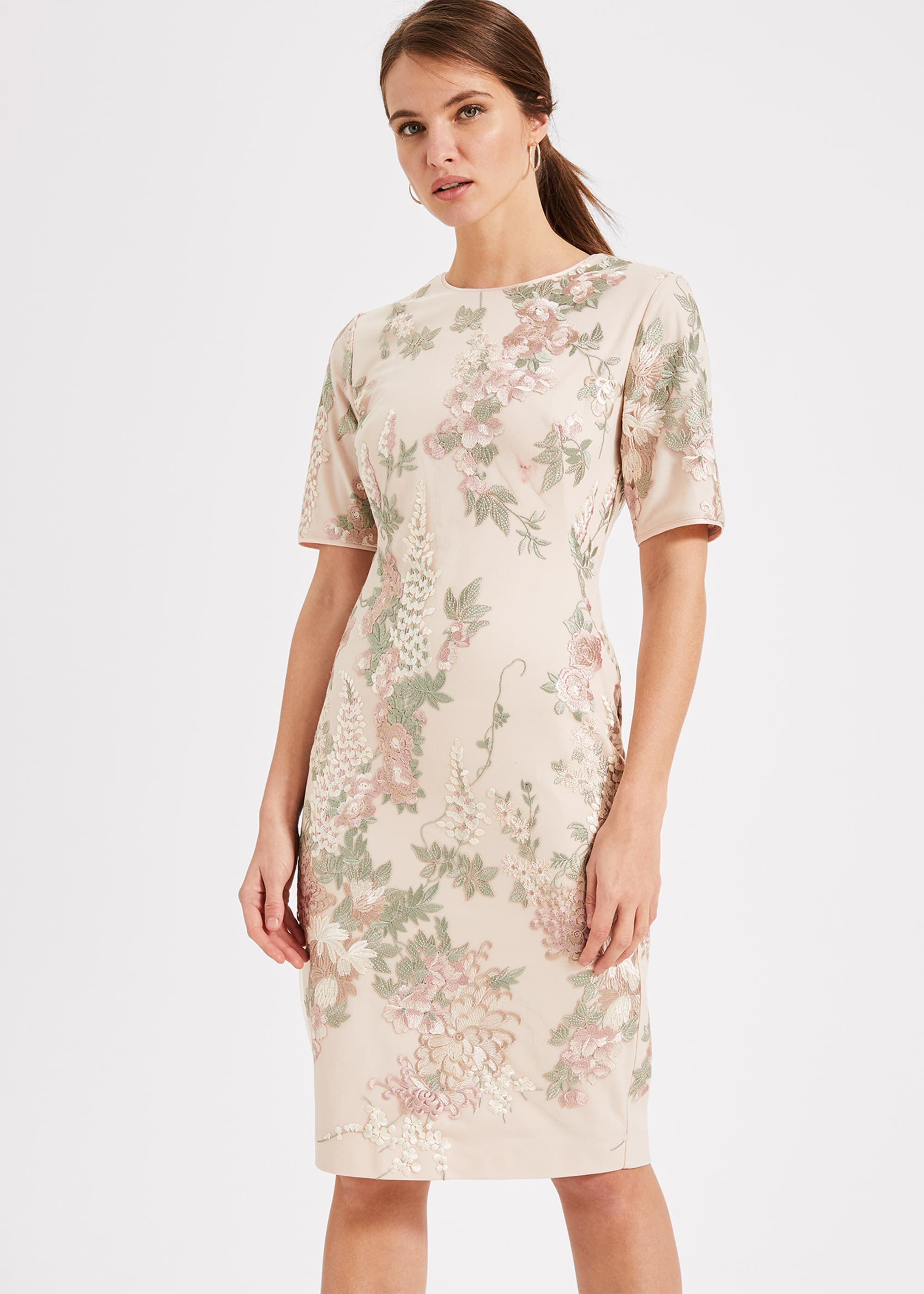 Phase Eight Annalise Embroidered Dress, Pink, Shift, Occasion Dress