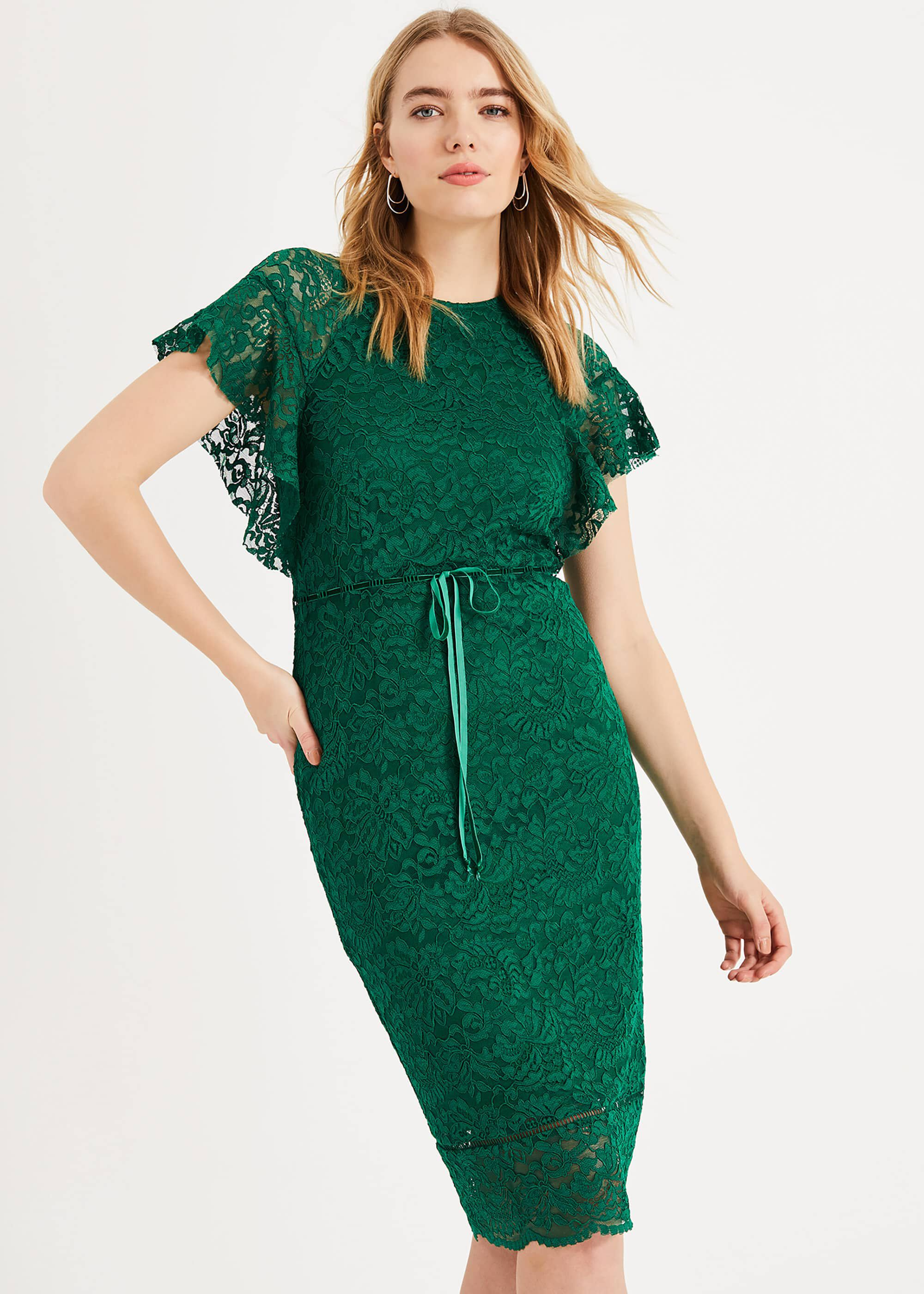 Phase Eight Ninette Frill Sleeve Lace Dress, Green, Shift, Occasion Dress