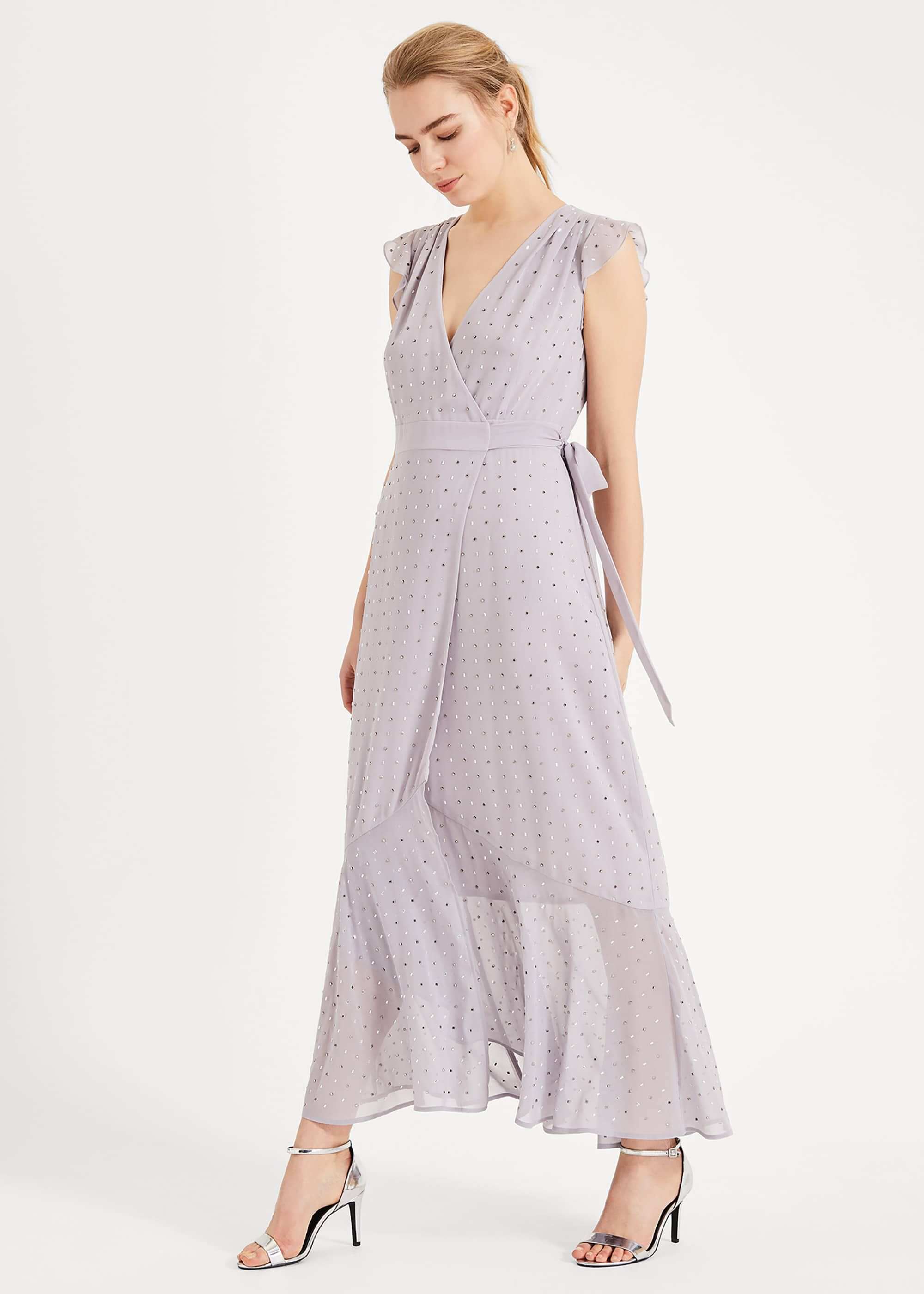 Phase Eight Kimmy Sparkle Maxi Dress, Purple, Maxi