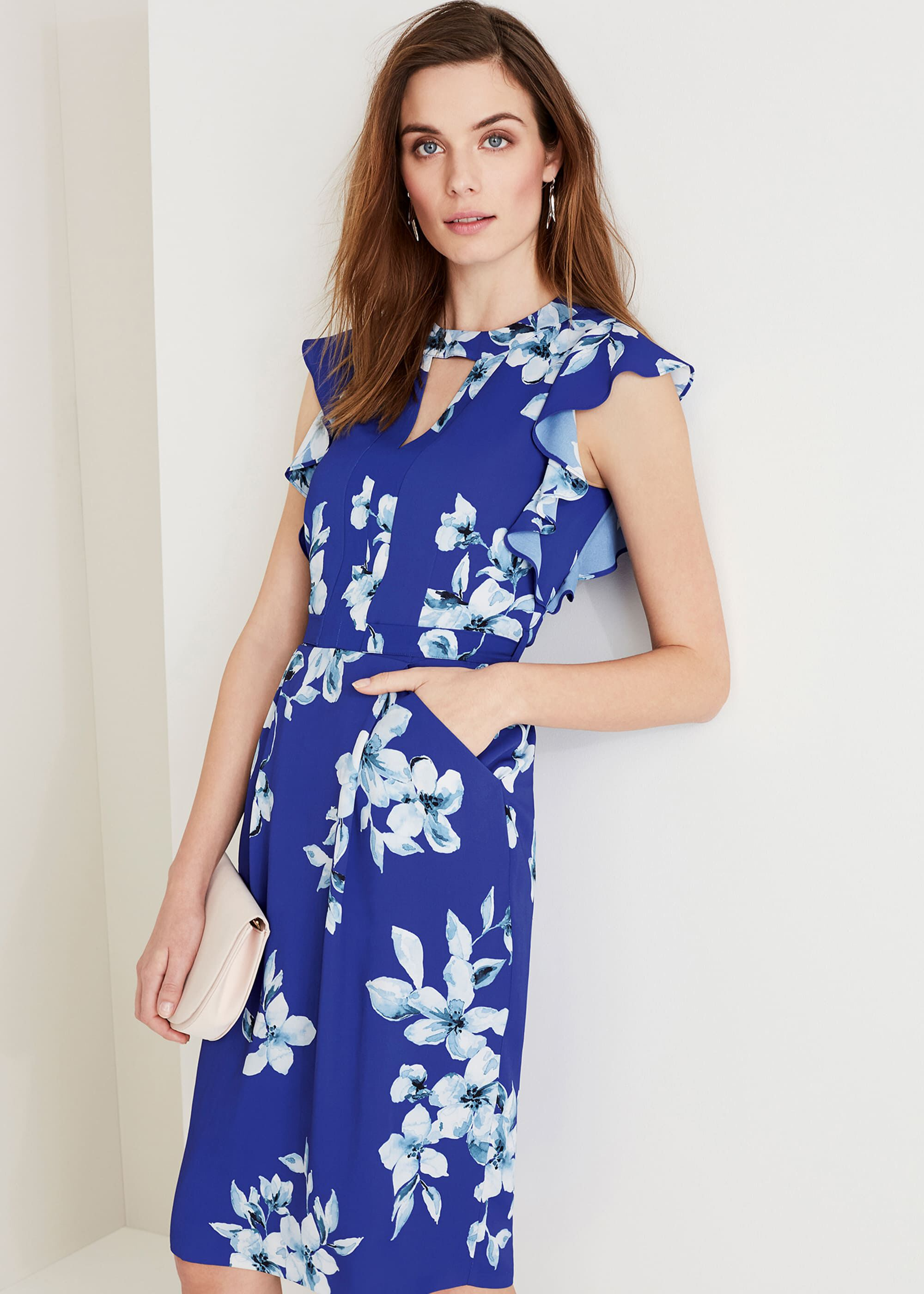 Phase Eight Olive Floral Dress, Blue, Shift, Occasion Dress