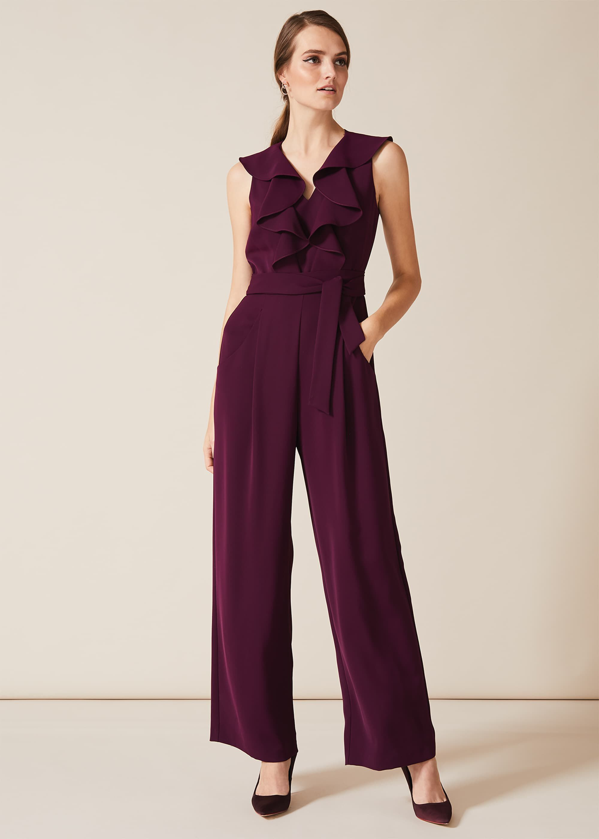 Phase Eight Linda Frill Wrap Jumpsuit, Purple, Jumpsuit