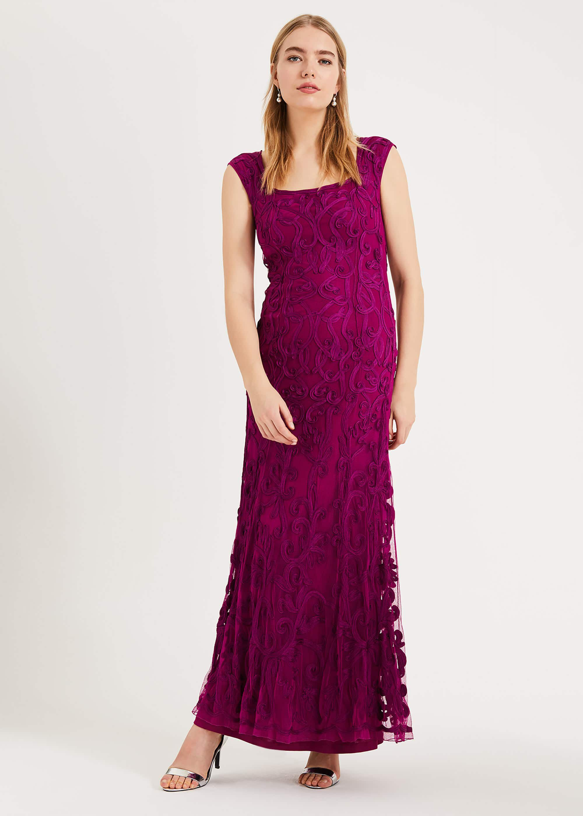 Phase Eight Abbie Tapework Maxi Dress, Purple, Maxi, Occasion Dress