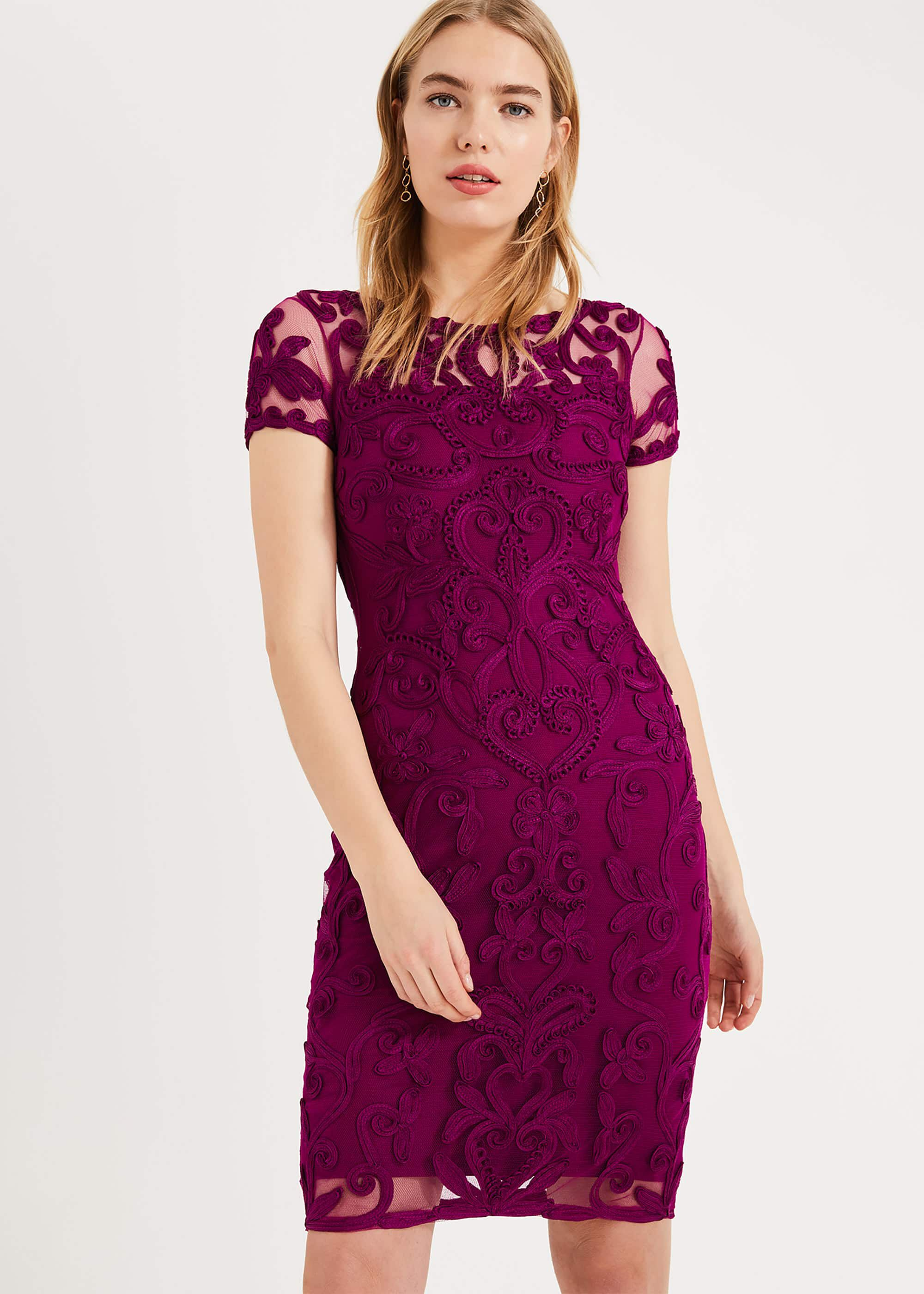 Phase Eight Sheena Tapework Lace Dress, Purple, Fitted