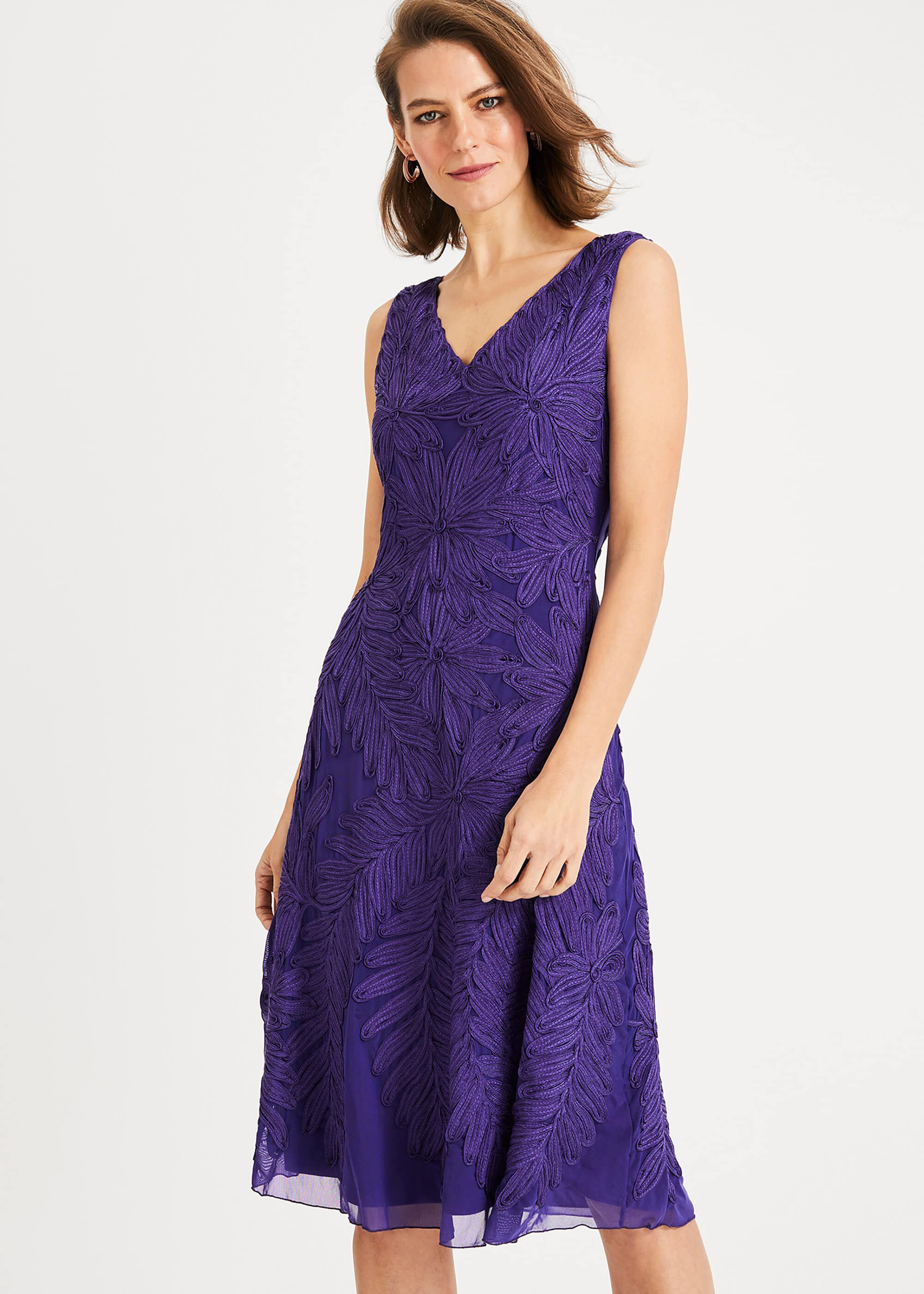 Phase Eight Denise Tapework Dress, Purple, Fit & Flare, Occasion Dress